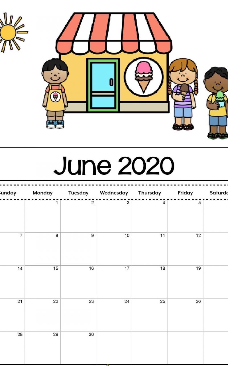 Free Download Cute June 2020 Calendar Printable For Kids
