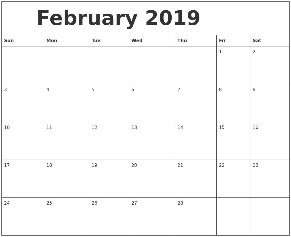 Free Download February Calendar For 2019 Available In