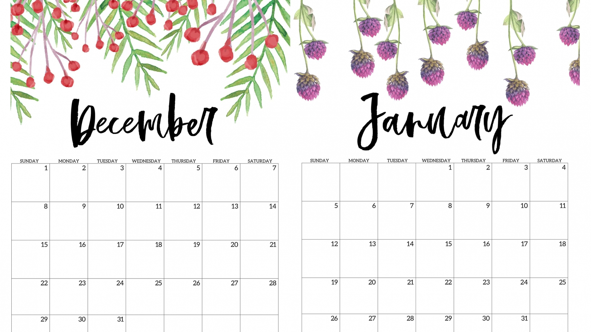 Free Download January 2020 Calendar Wallpapers Top January