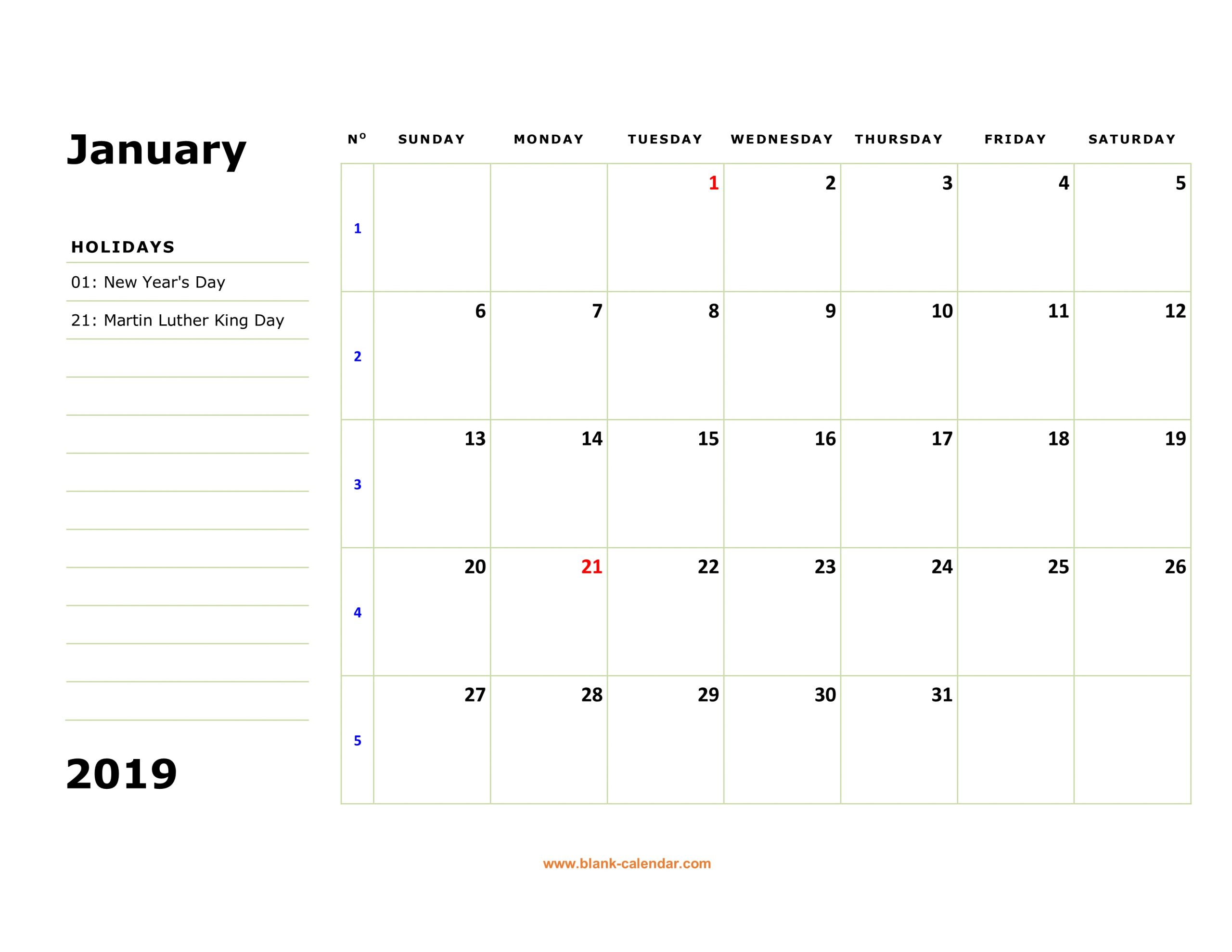 Free Download Printable Calendar 2019, Large Box, Holidays