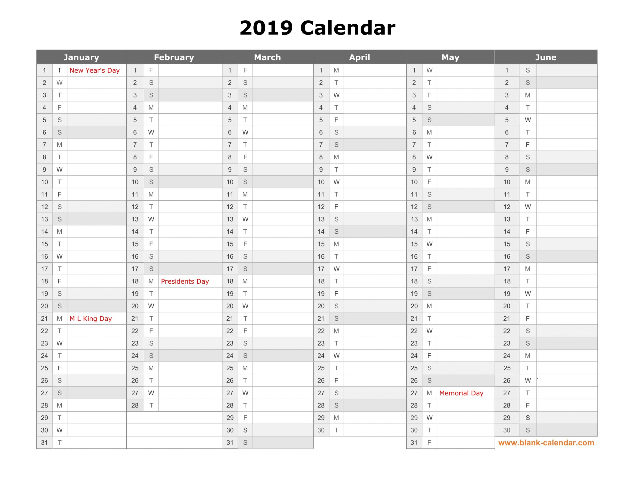 Free Download Printable Calendar 2019, Month In A Column