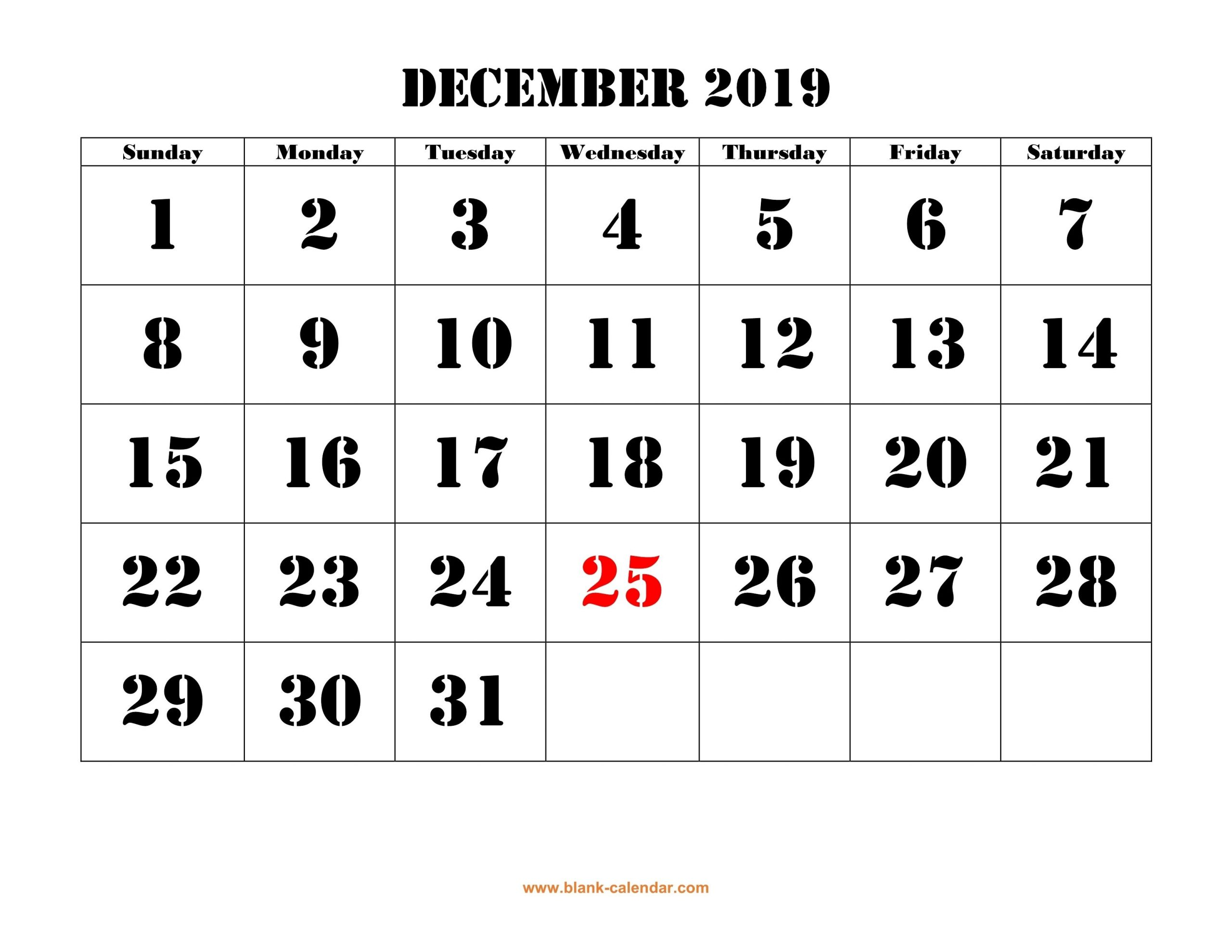 Free Download Printable December 2019 Calendar, Large Font
