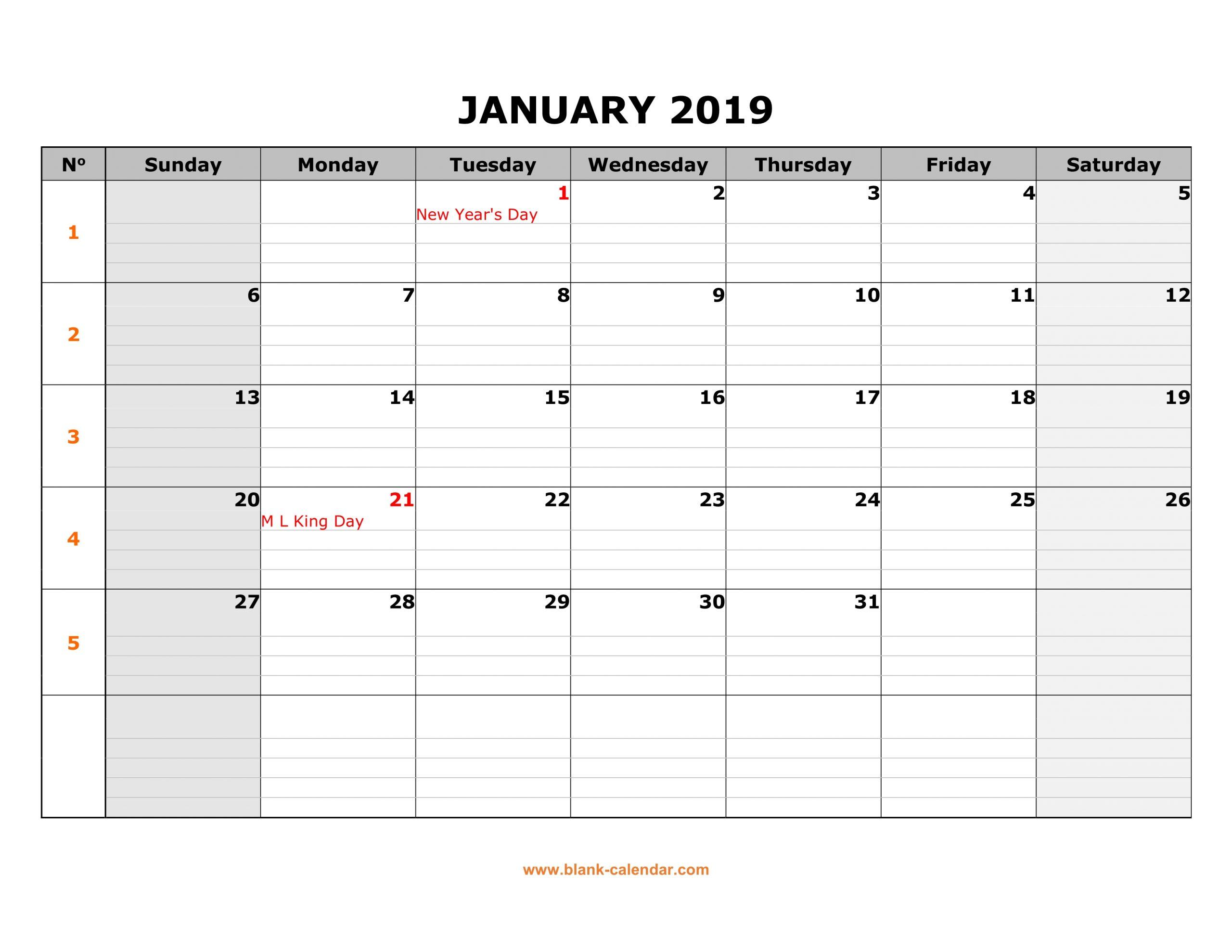 Free Download Printable January 2019 Calendar, Large Box