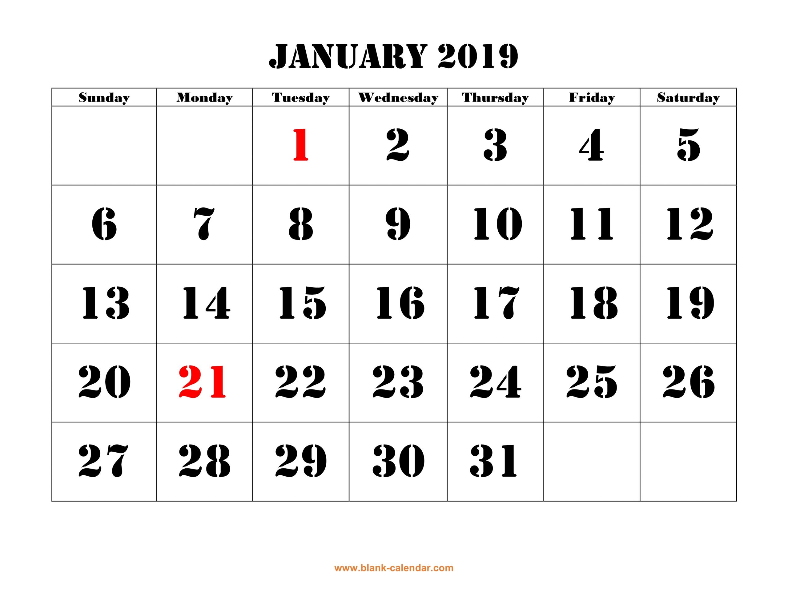 Free Download Printable January 2019 Calendar, Large Font