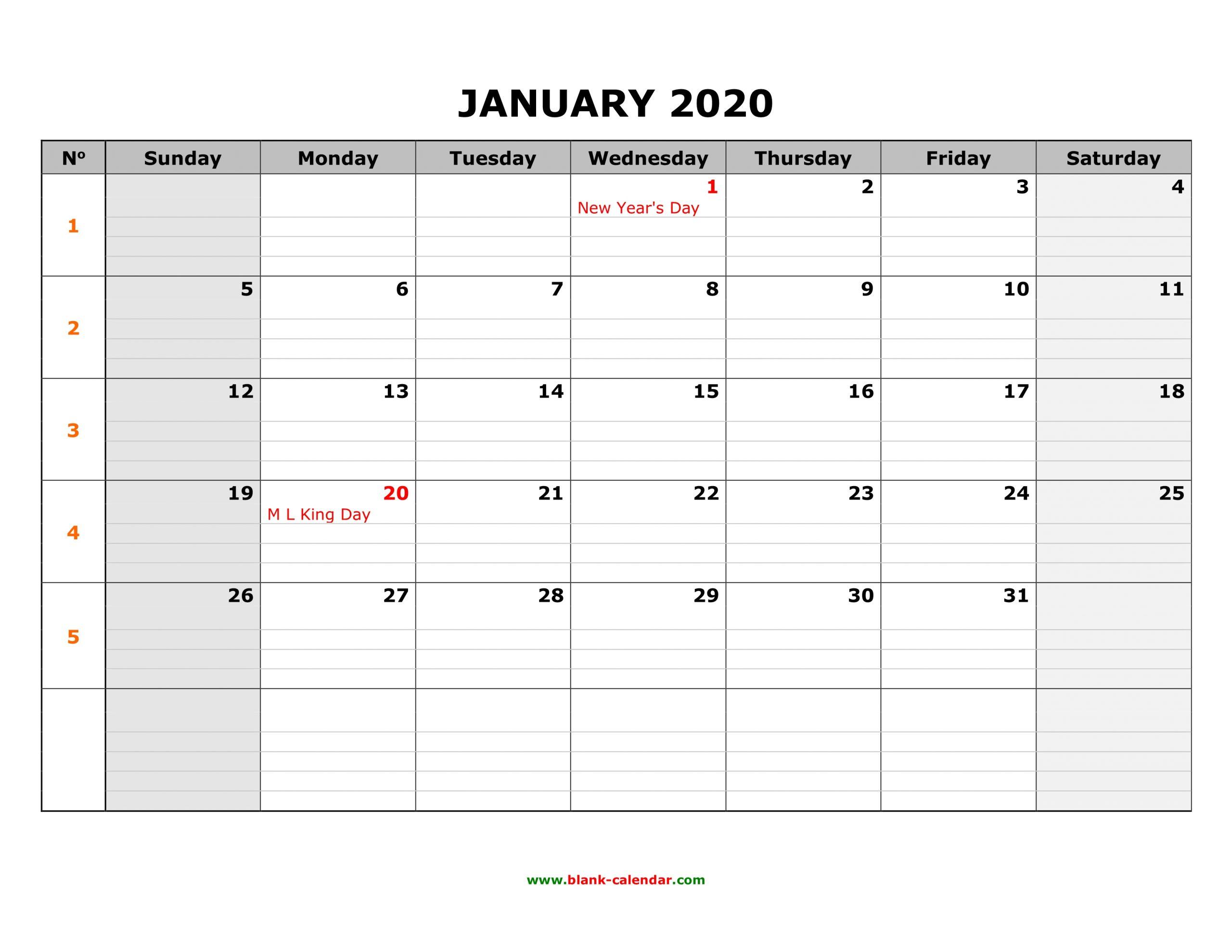 Free Download Printable January 2020 Calendar, Large Box