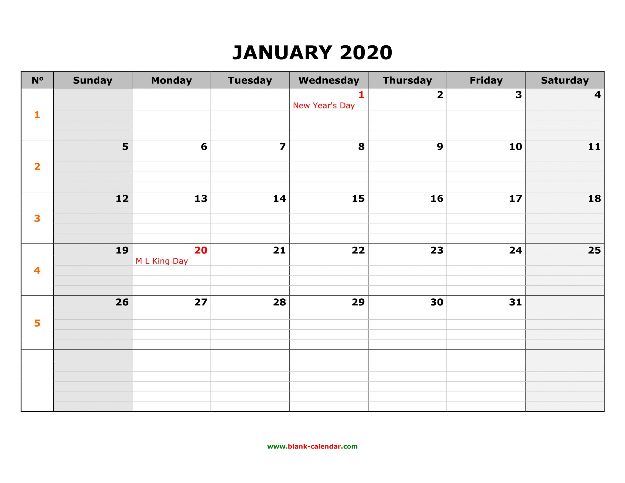 Free Download Printable January 2020 Calendar, Large Box