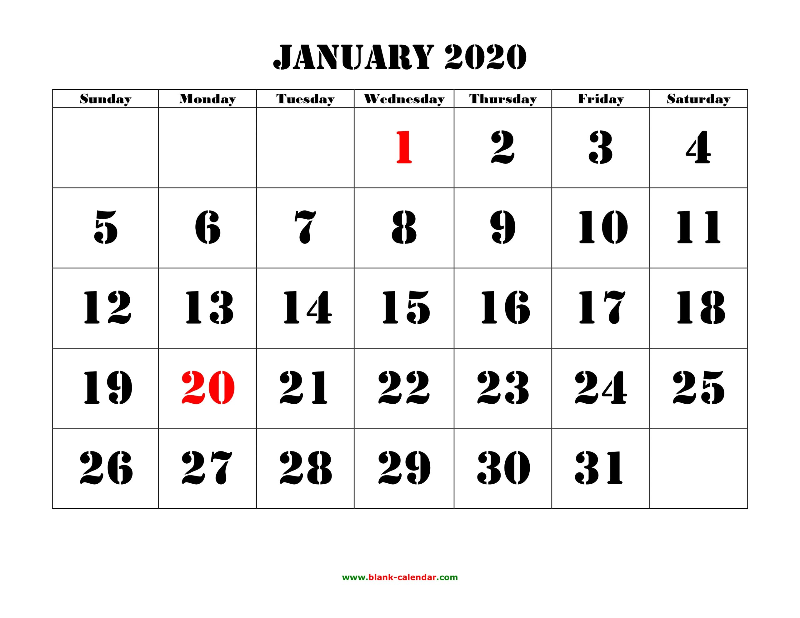 Free Download Printable January 2020 Calendar, Large Font