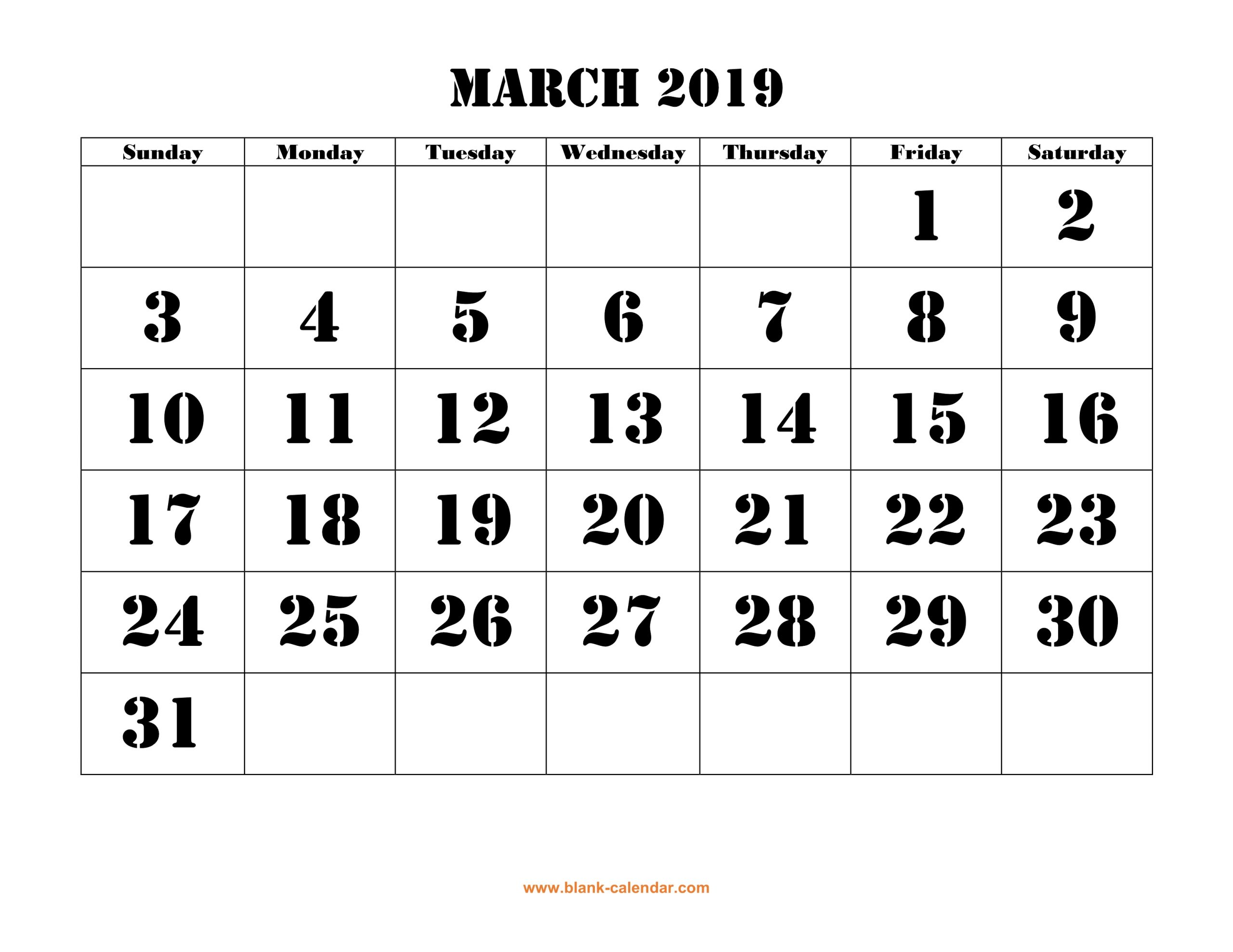 Free Download Printable March 2019 Calendar, Large Font