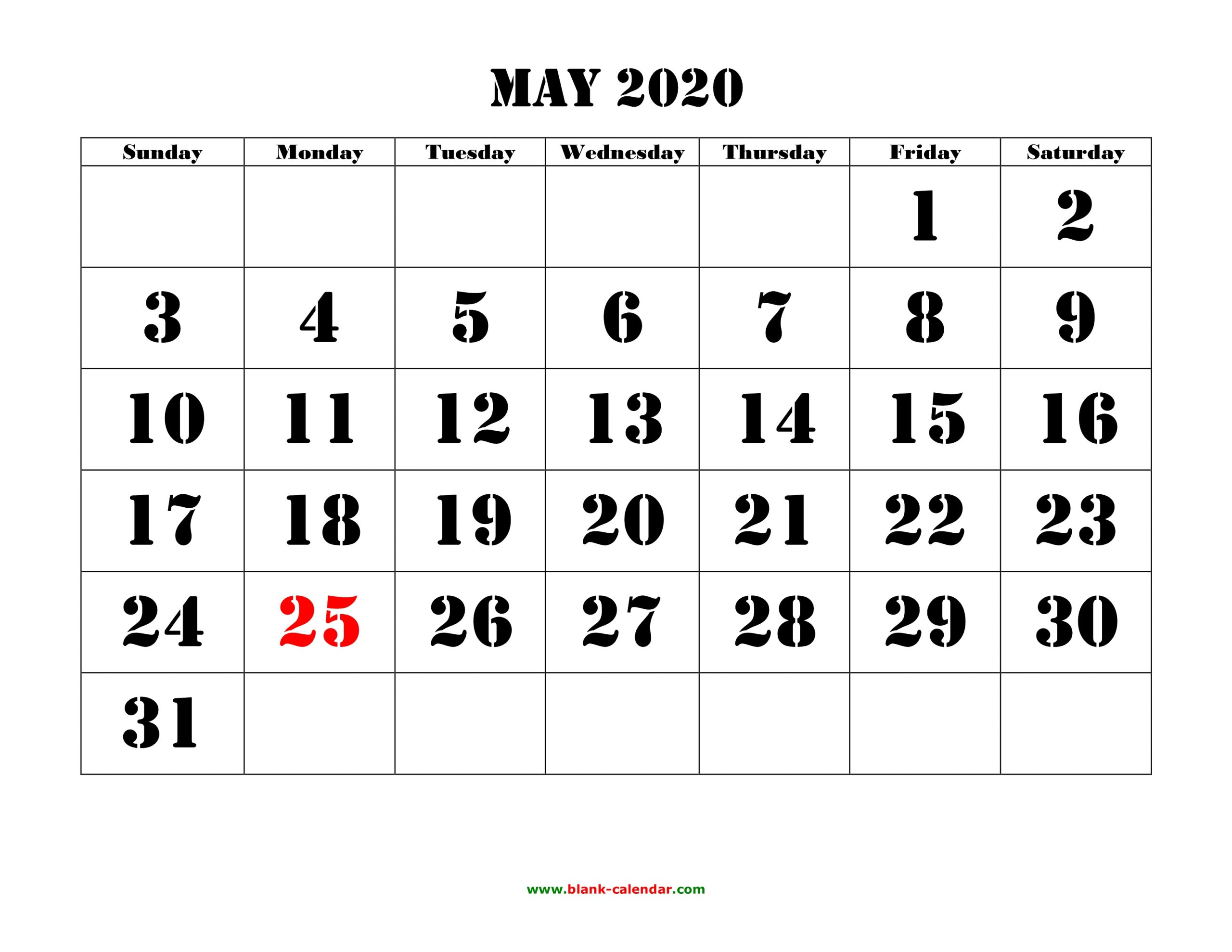Free Download Printable May 2020 Calendar, Large Font Design