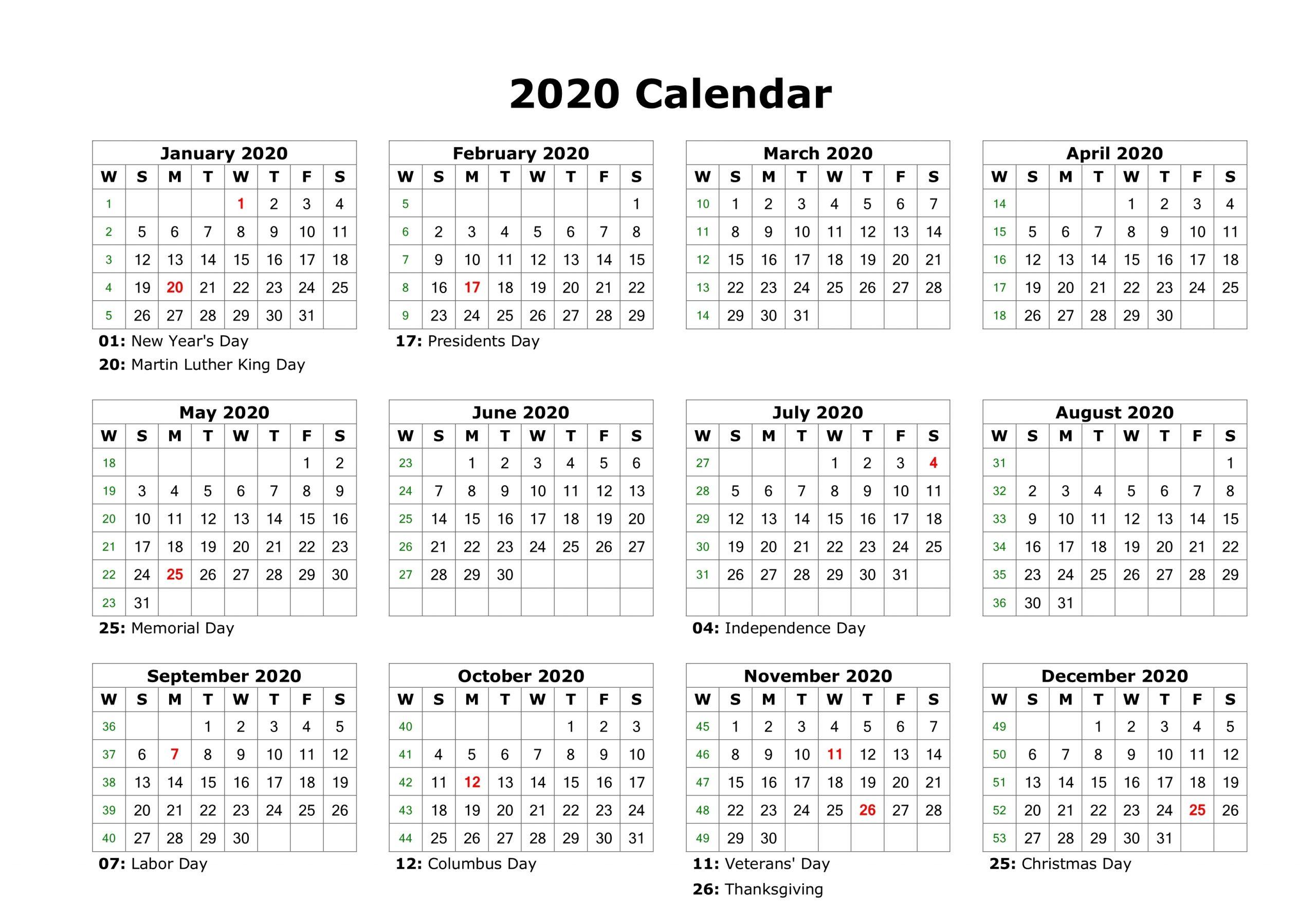 Free Editable 2020 Calendar Printable Template