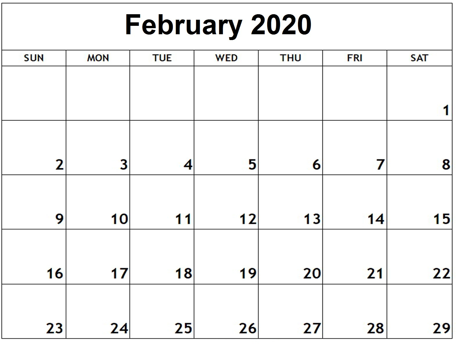 Free Editable February 2020 Calendar In Pdf, Landscape, And