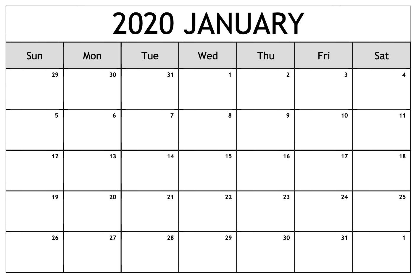Free Editable January Calendar 2020 Blank Template