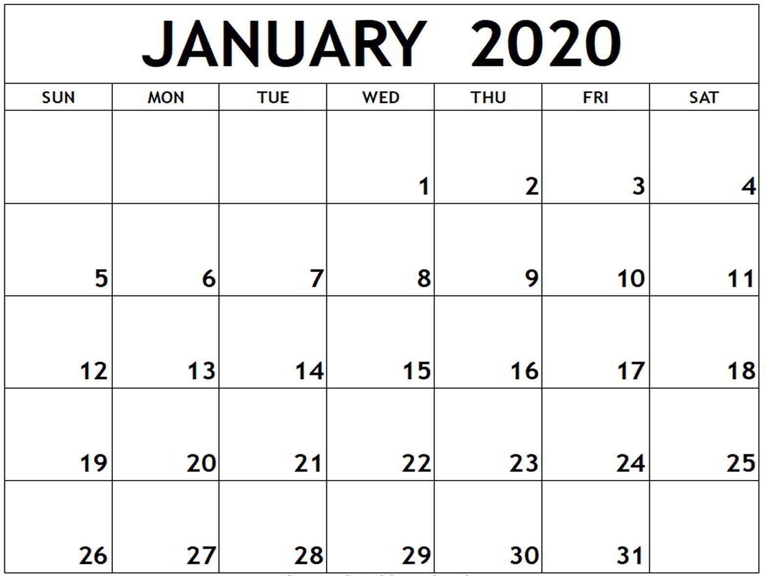 Free Editable January Calendar 2020 Printable Template With