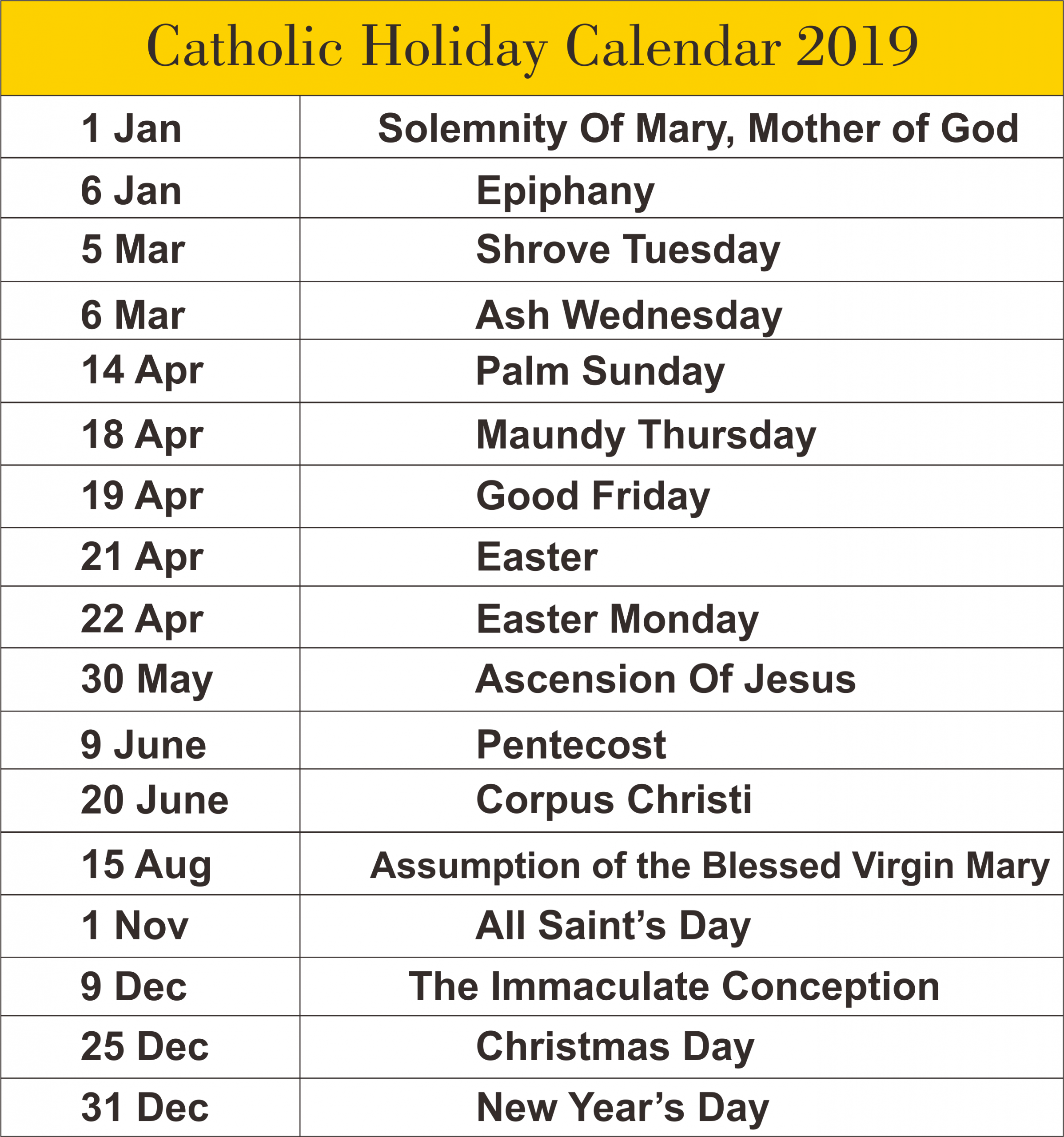 Free Editable Printable Catholic Calendar Template 2019