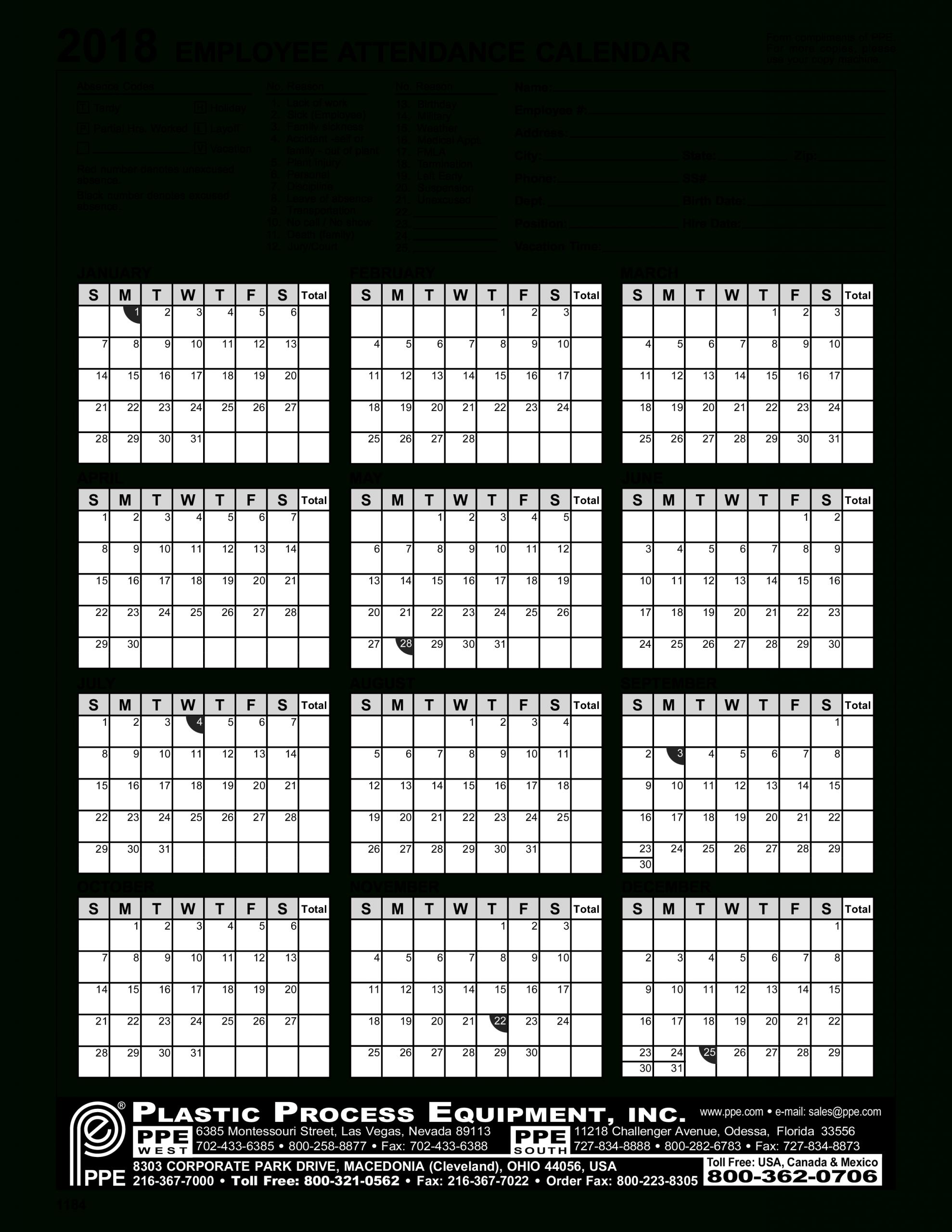 Free Employee Attendance Calendar - Togo.wpart.co
