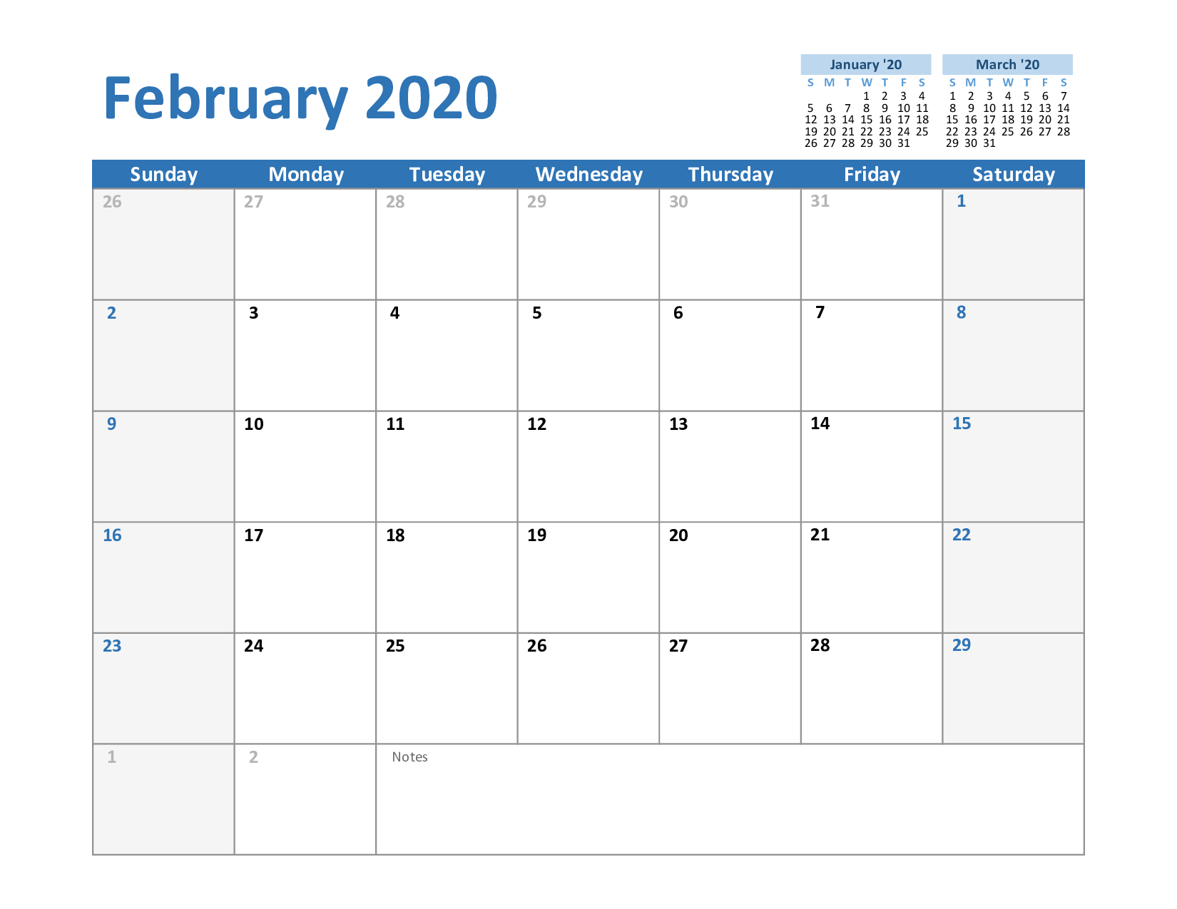 Free February & March 2020 Printable Calendar Templates