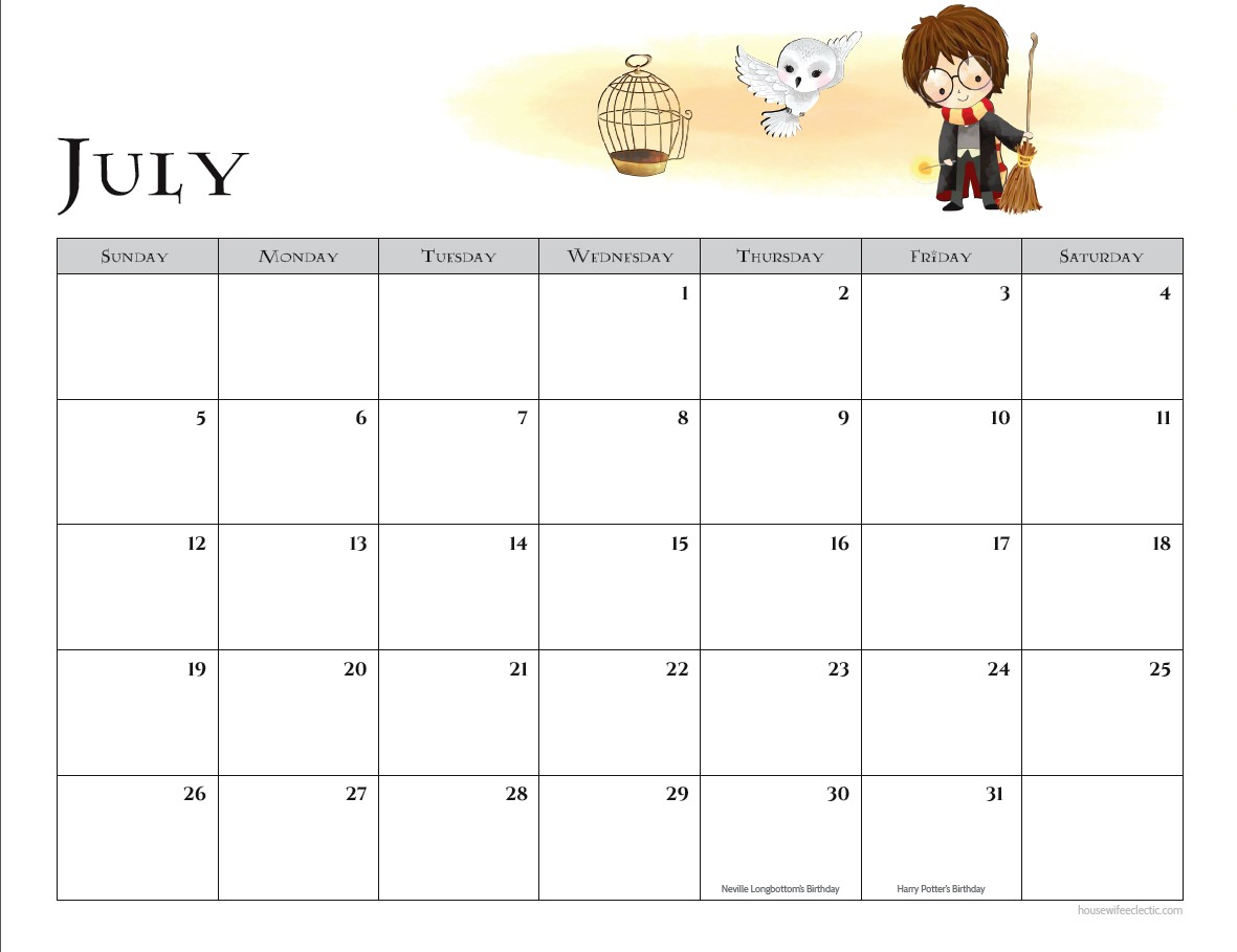 Free Harry Potter 2020 Printable Calendar - Housewife Eclectic