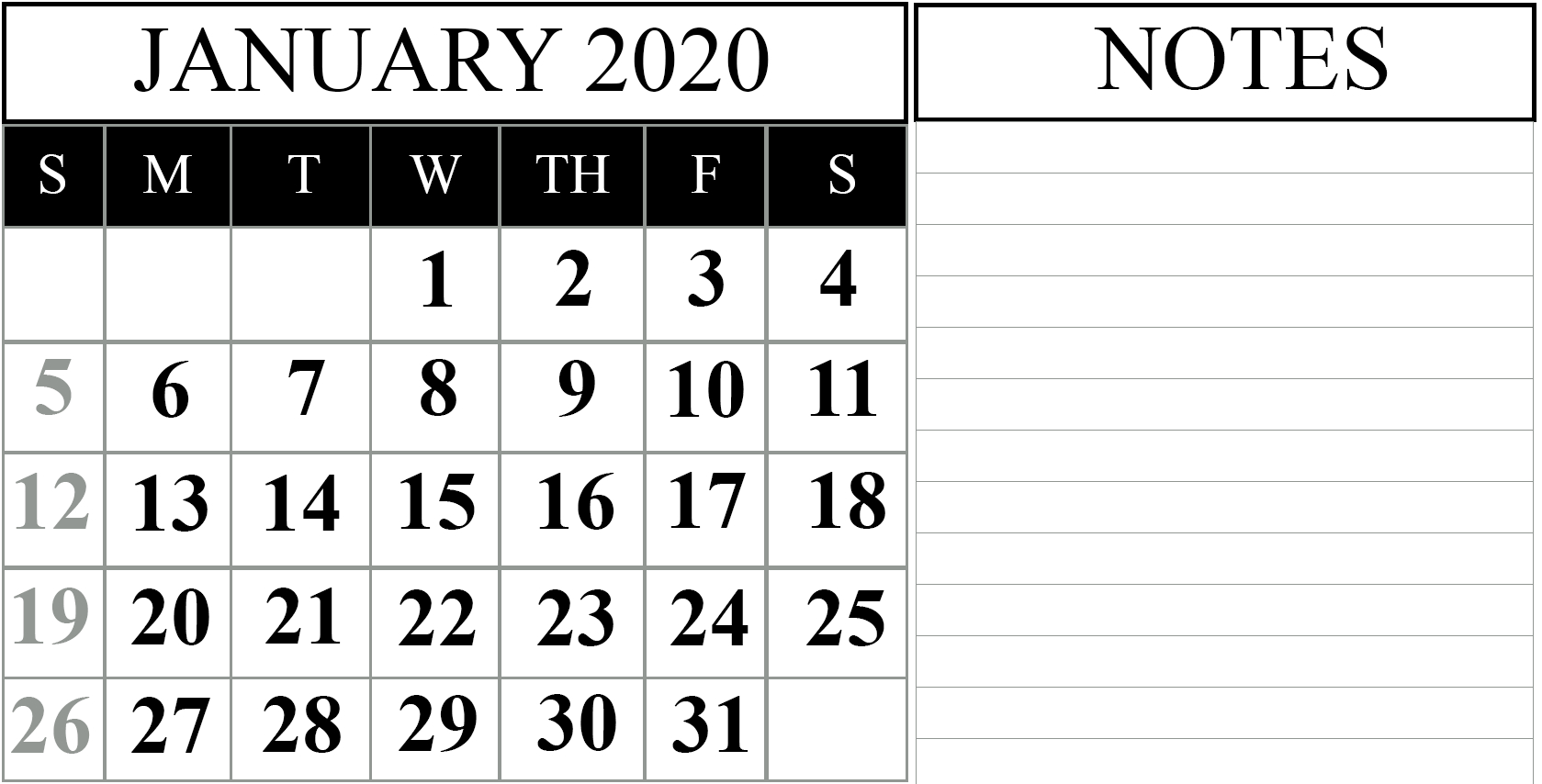 Free January 2020 Calendar Pdf | Printable March Calendar