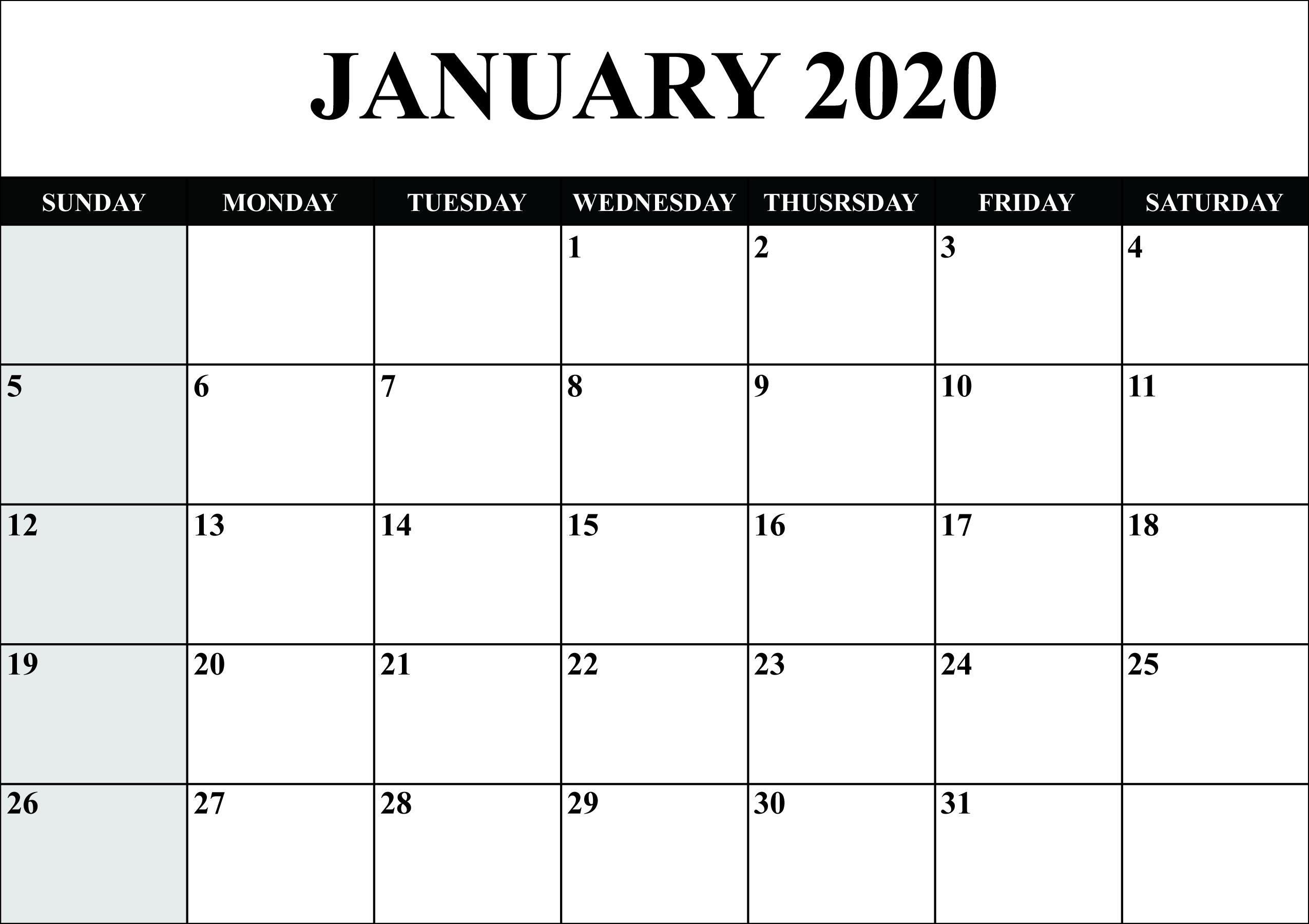 Free January 2020 Calendar Printable - Blank Templates