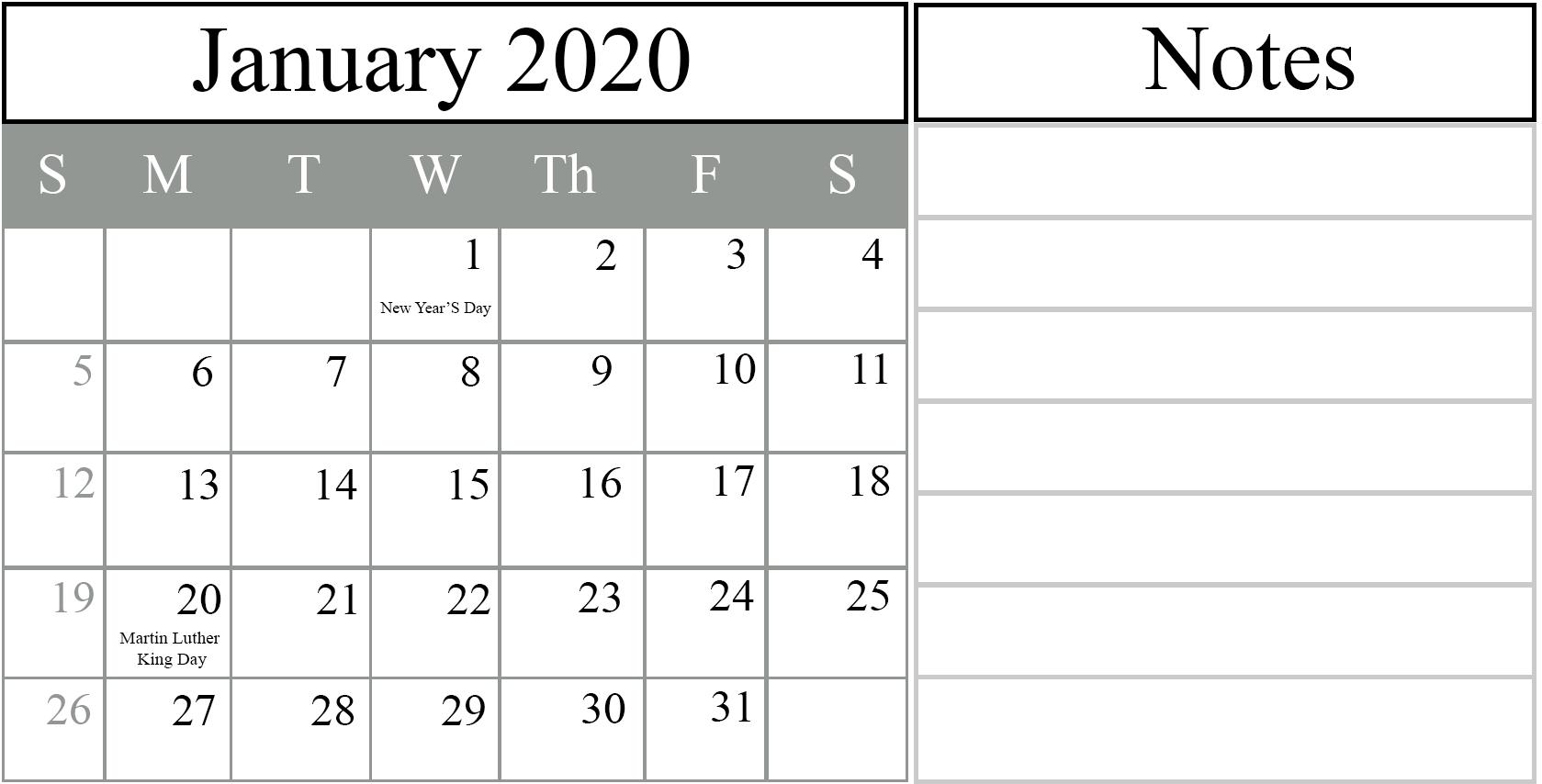 Free January 2020 Printable Calendar Blank In Pdf, Excel