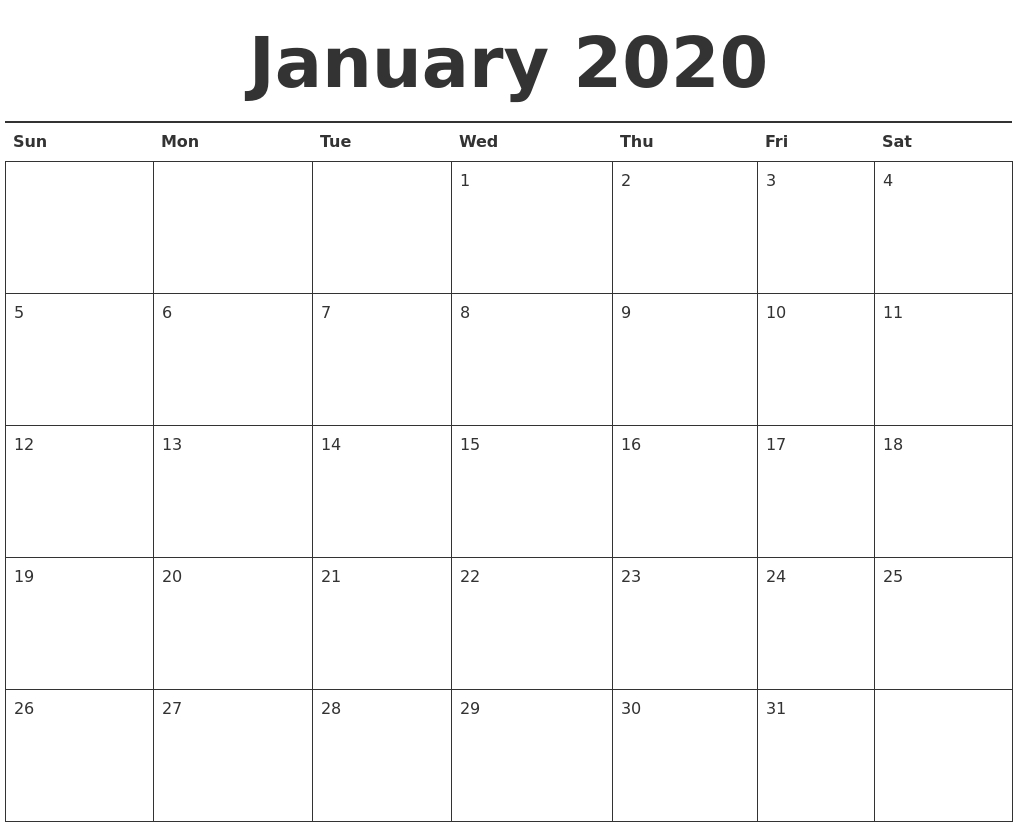 Free January 2020 Printable Calendar - Ko-Fi ❤️ Where