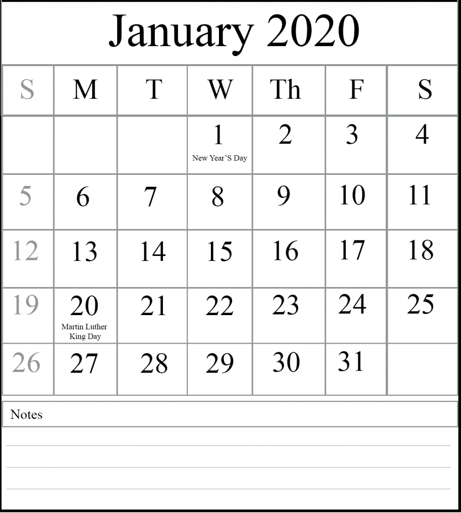 Free January 2020 Printable Calendar Template [Pdf, Excel