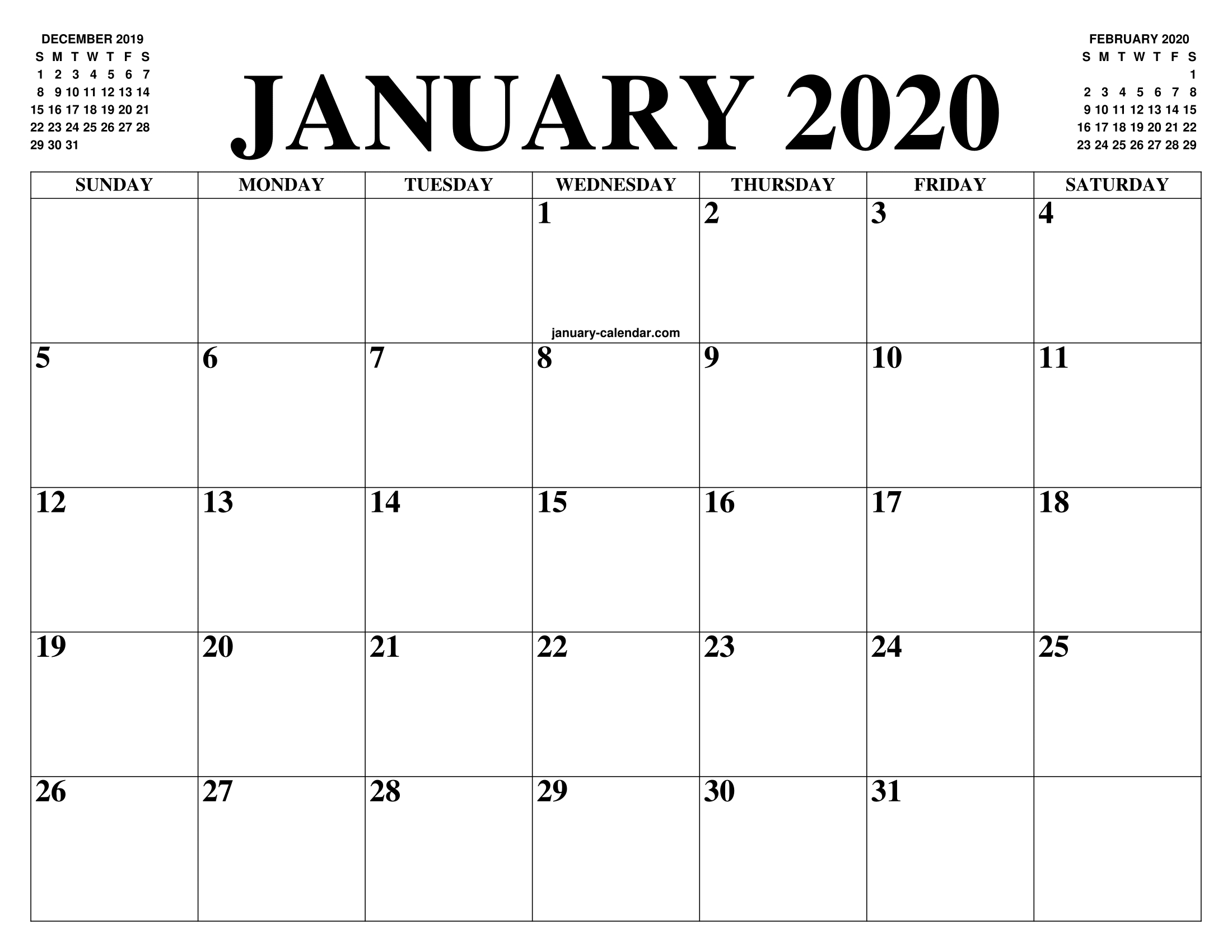 Free January Calendar 2020 Printable Template Blank In Pdf