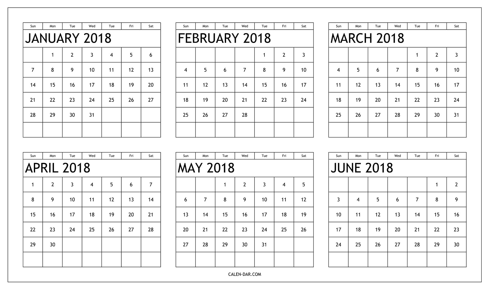 Free January To June 2018 Calendar Printable | Six Month