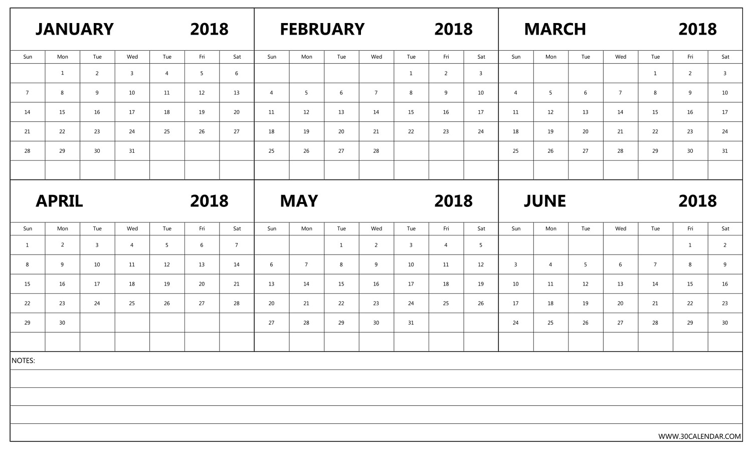 Free January To June 2018 Calendar | Six Month Template