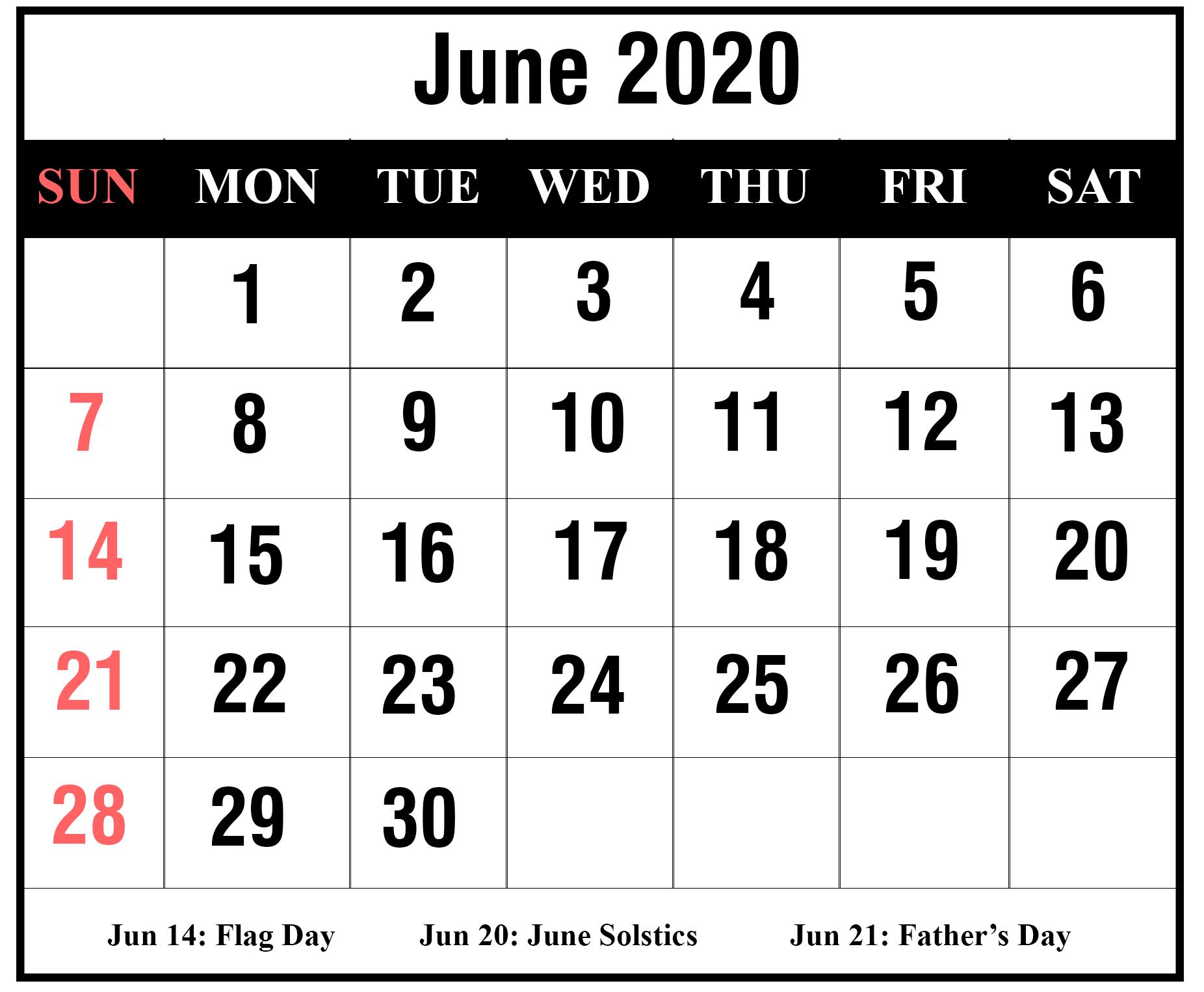 Free June 2020 Calendar Template | Printable April Calendar