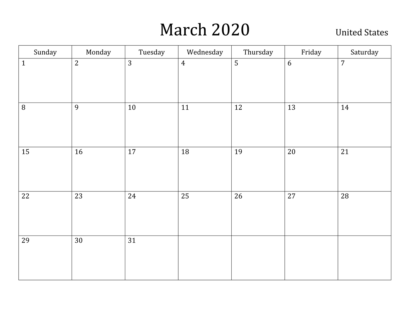 Free March 2020 Printable Calendar - Blank Templates -