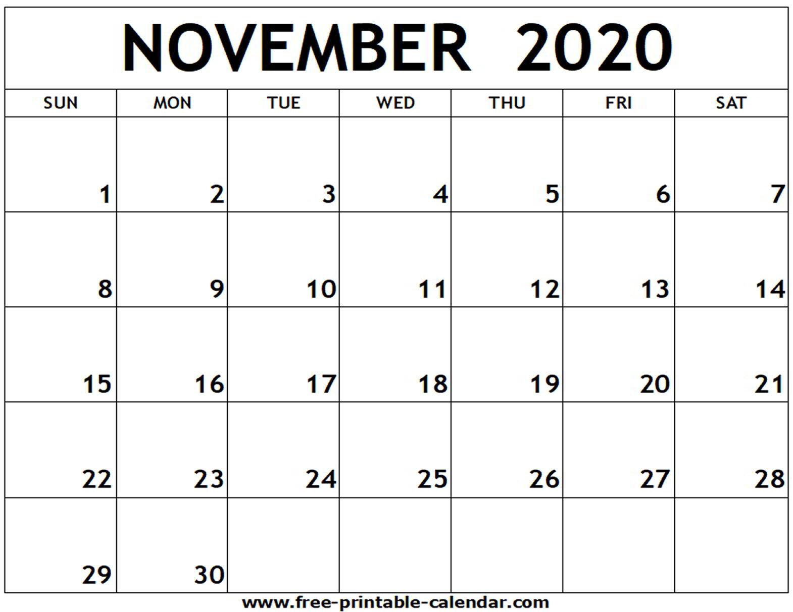 Free November 2020 Calendar - Togo.wpart.co