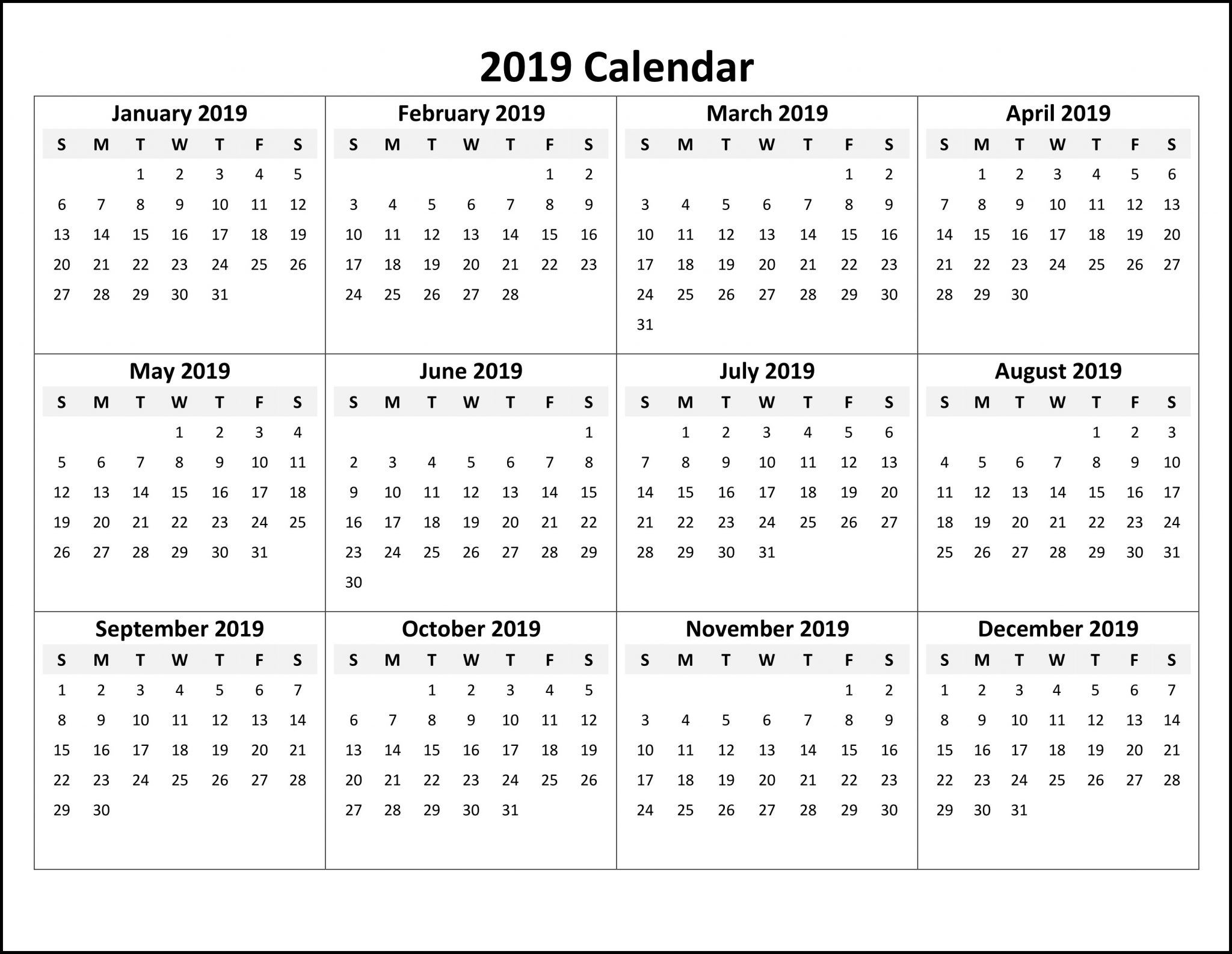 Free Online Printable Calendar 2019 | Monthly Calendar