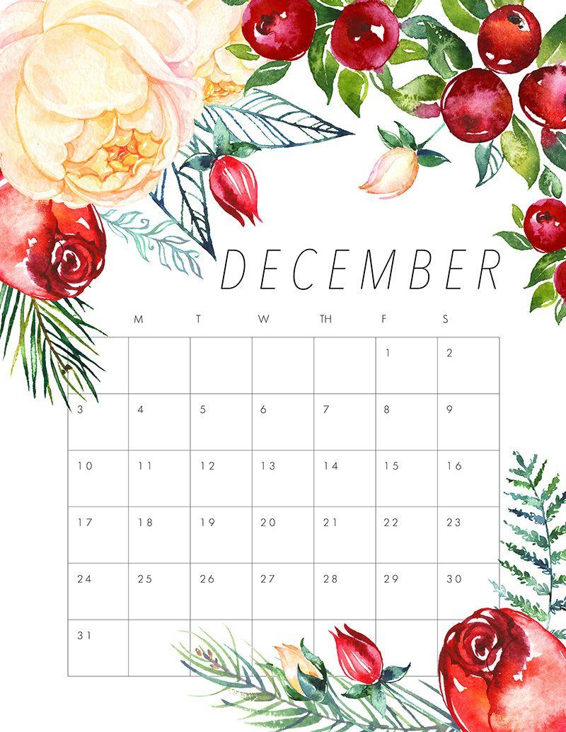 Free Printable 2017 Floral Calendar | Календарь Для Печати