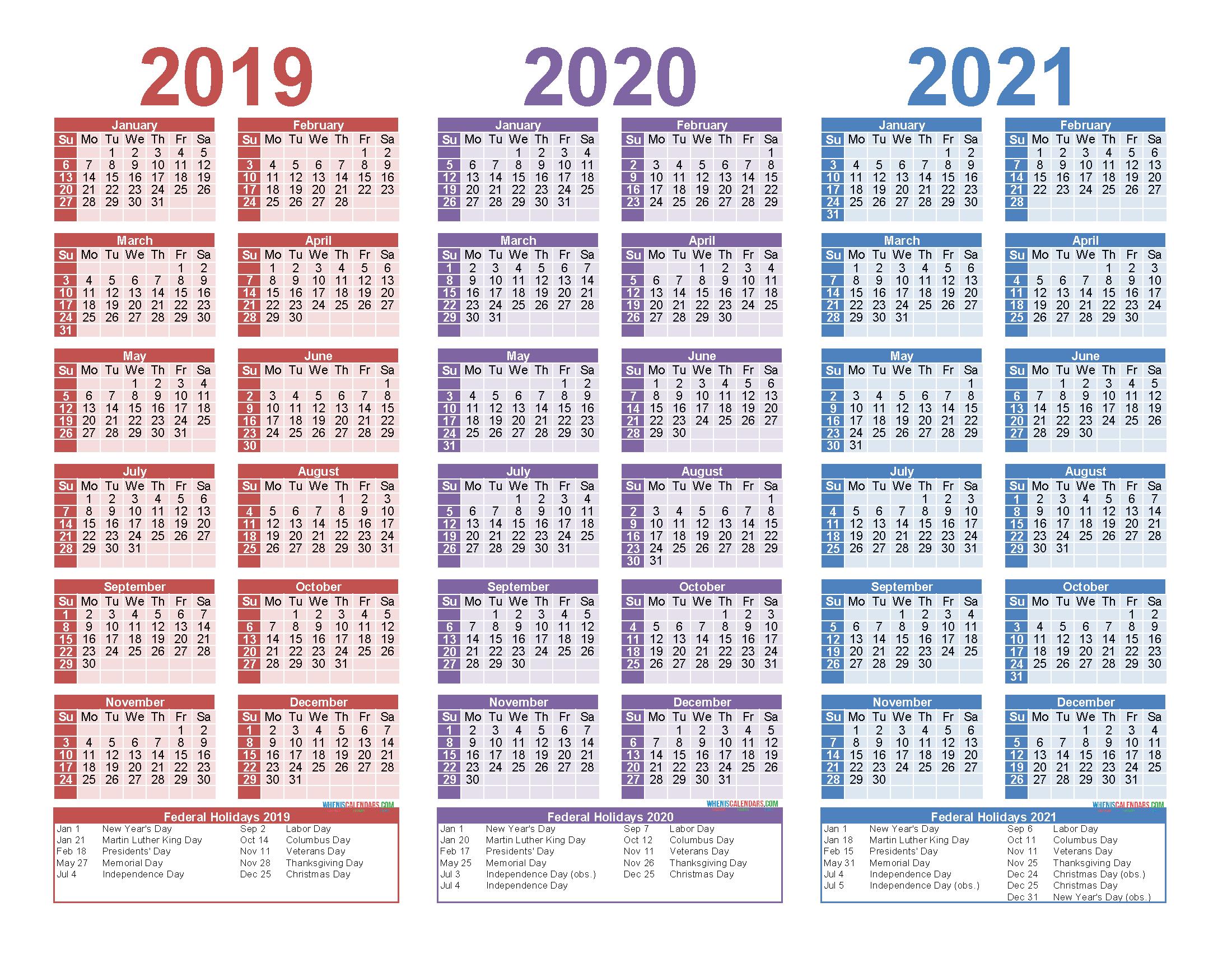 Free Printable 2019 2020 2021 Calendar With Holidays | Free