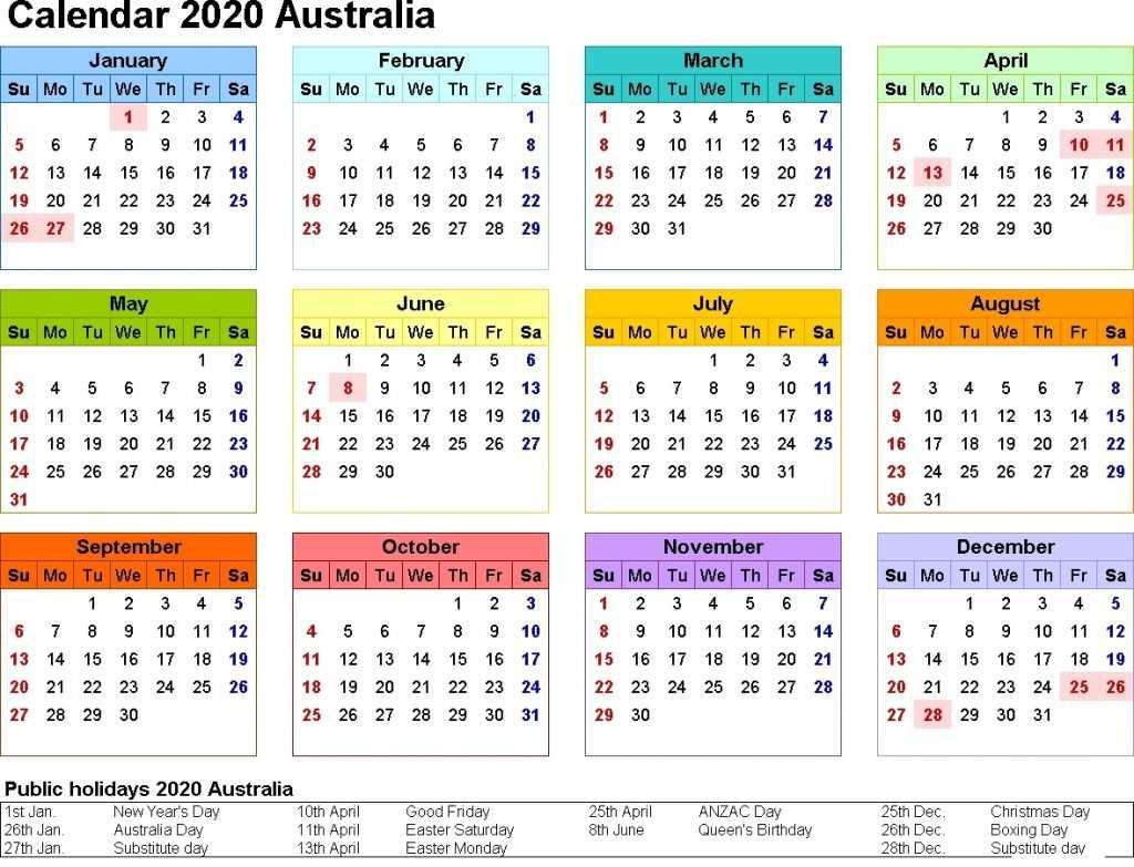Free Printable 2020 Australia Calendar With Public Holidays