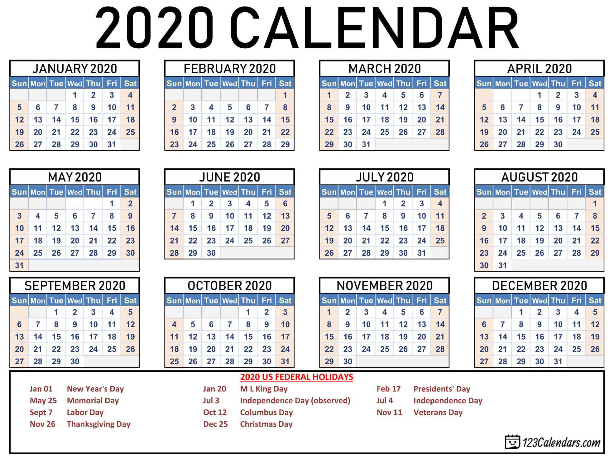 Free Printable 2020 Calendar | 123Calendars