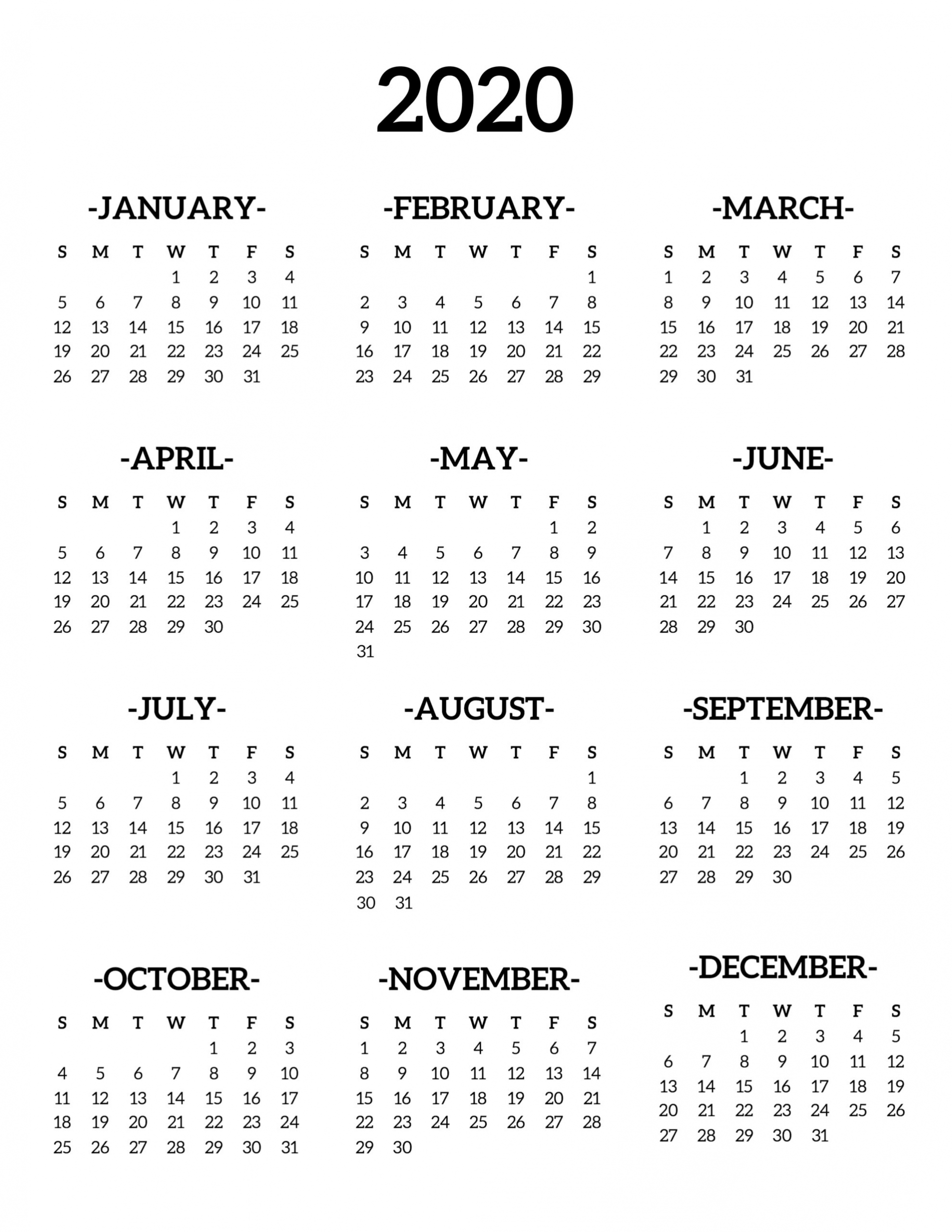 Free Printable 2020 Calendar – One Page Template   12 Month