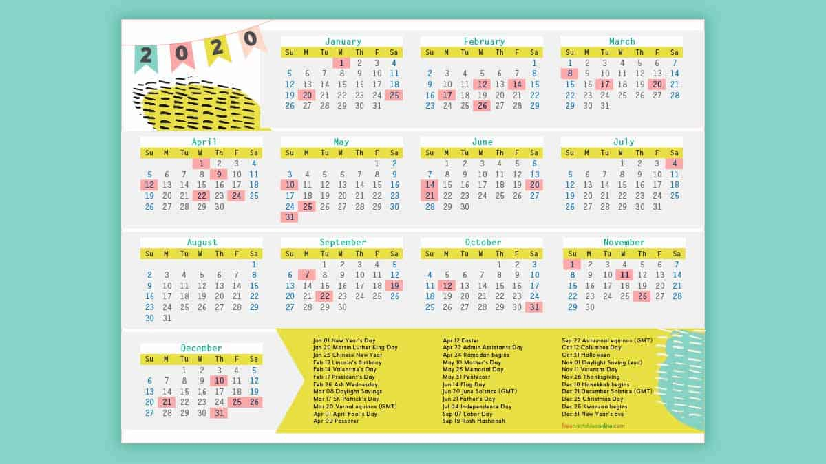 Free Printable 2020 Calendar With Holidays - Free Printables