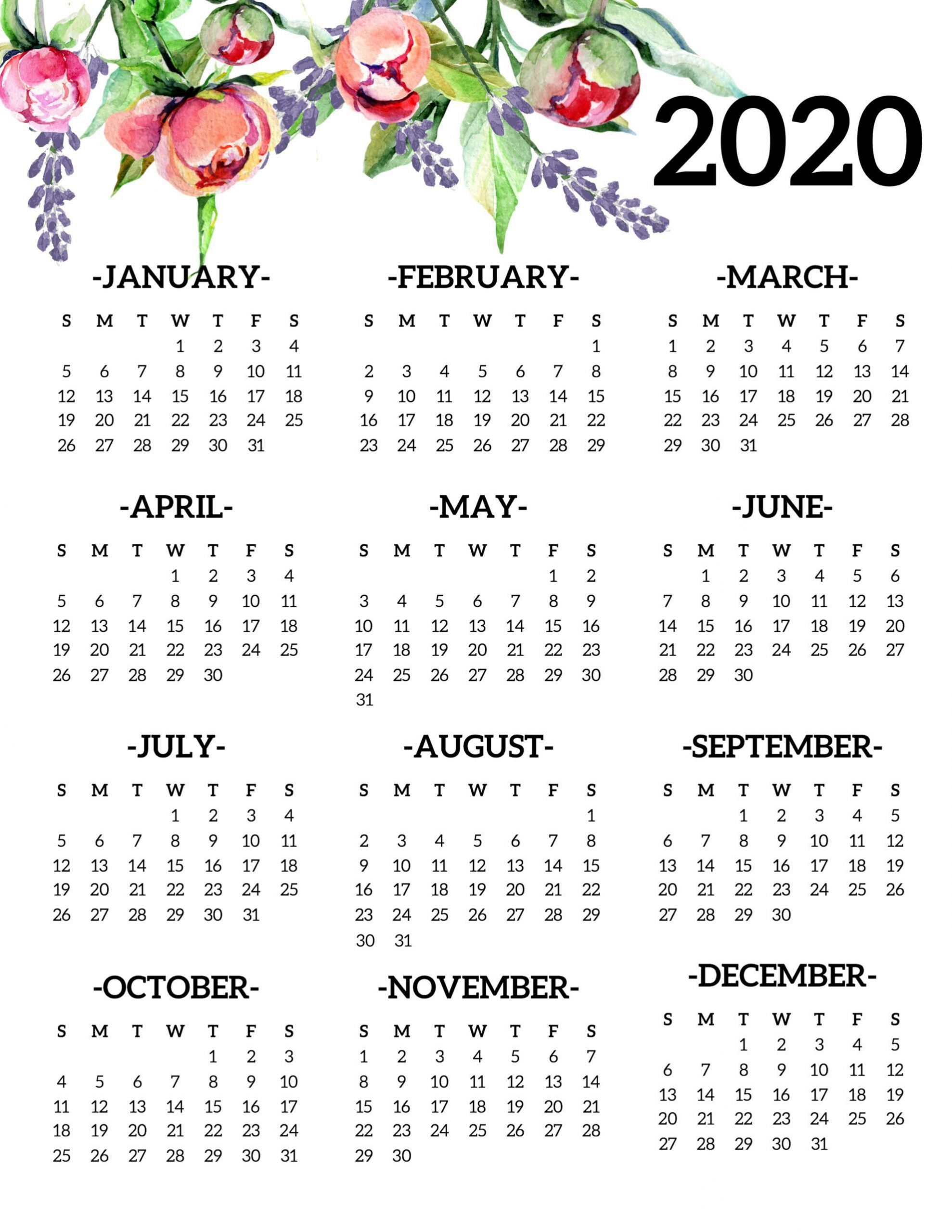 Free Printable 2020 Calendar Yearly E Page Floral Free Blank