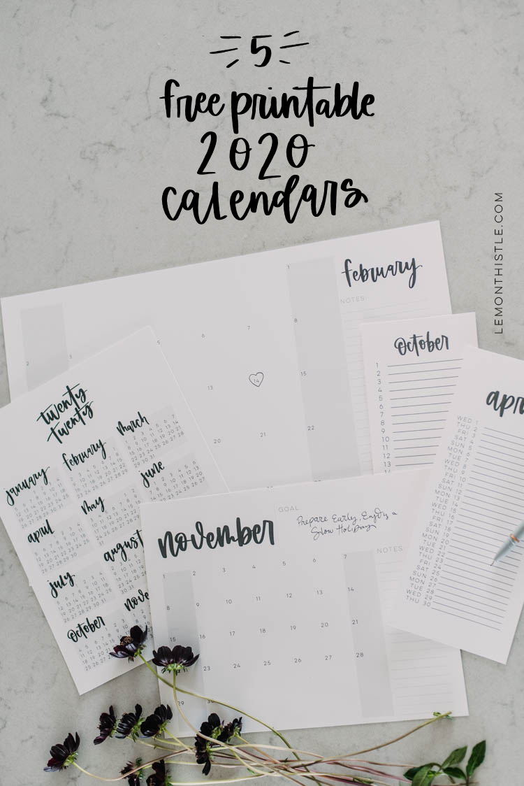 Free Printable 2020 Calendars Are Here! (5 Formats!) - Lemon
