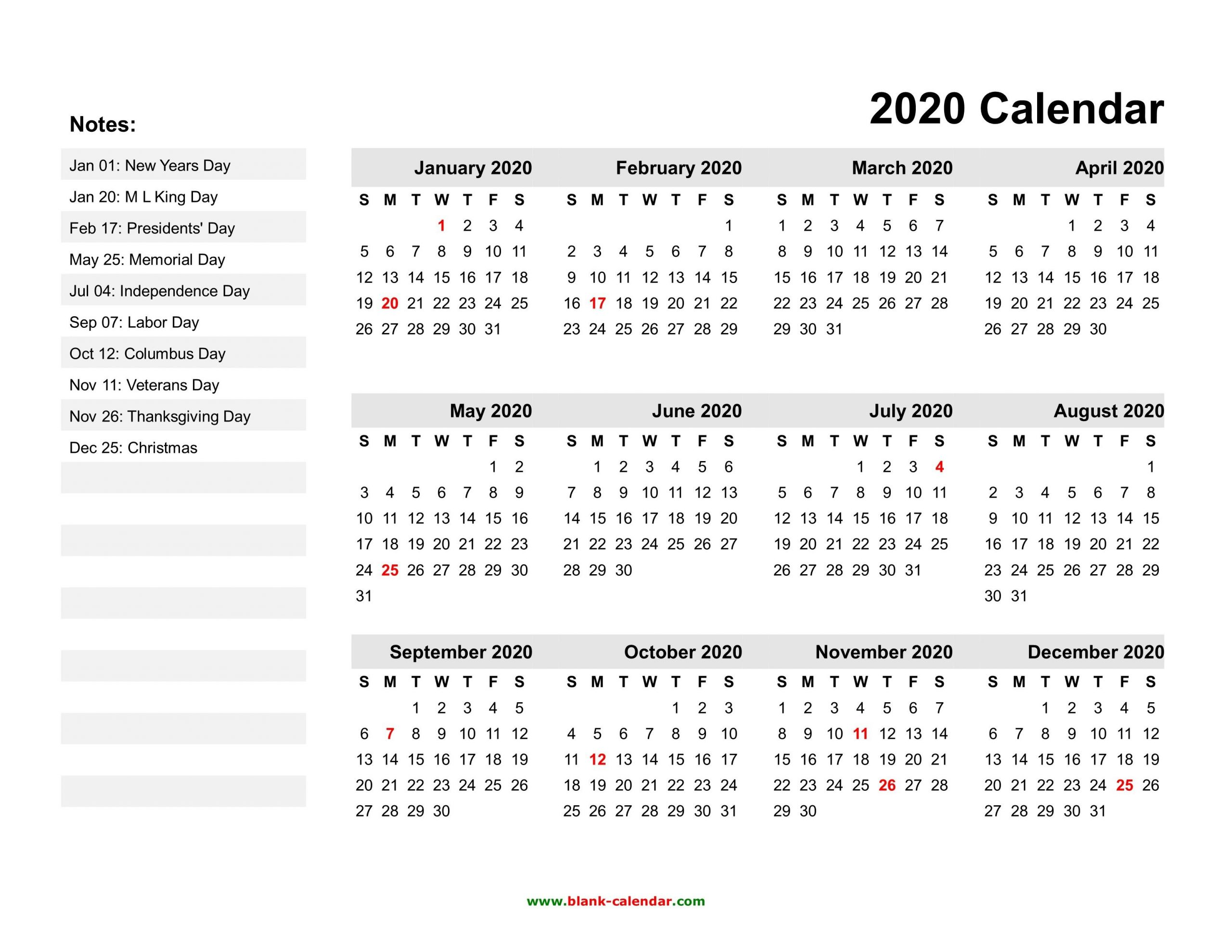 Free Printable 2020 Calendars With Holidays – Pleasant To My