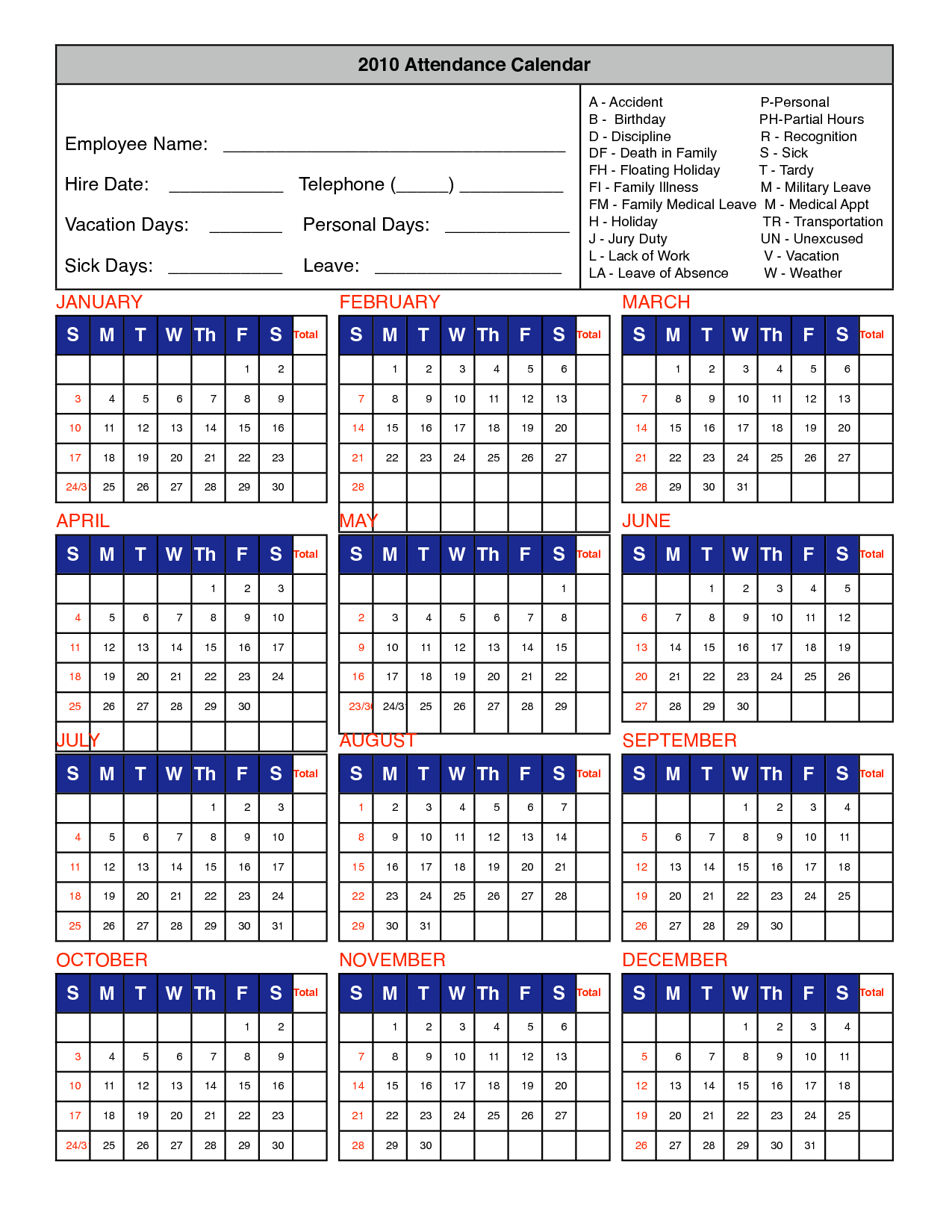 Take 2020 Attendance Calendar To Print For Free