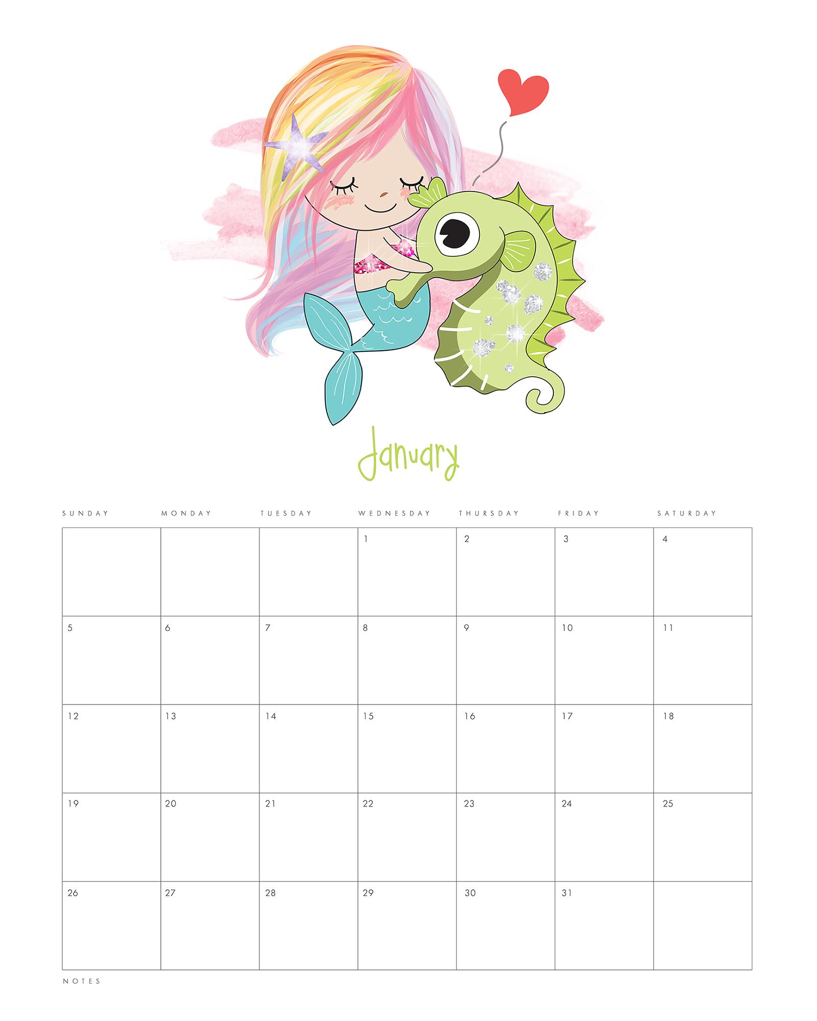 Free Printable 2020 Kawaii Mermaid Calendar - The Cottage Market