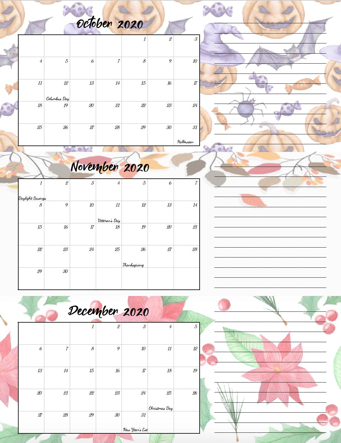 Free Printable 2020 Quarterly Calendars With Holidays: 3
