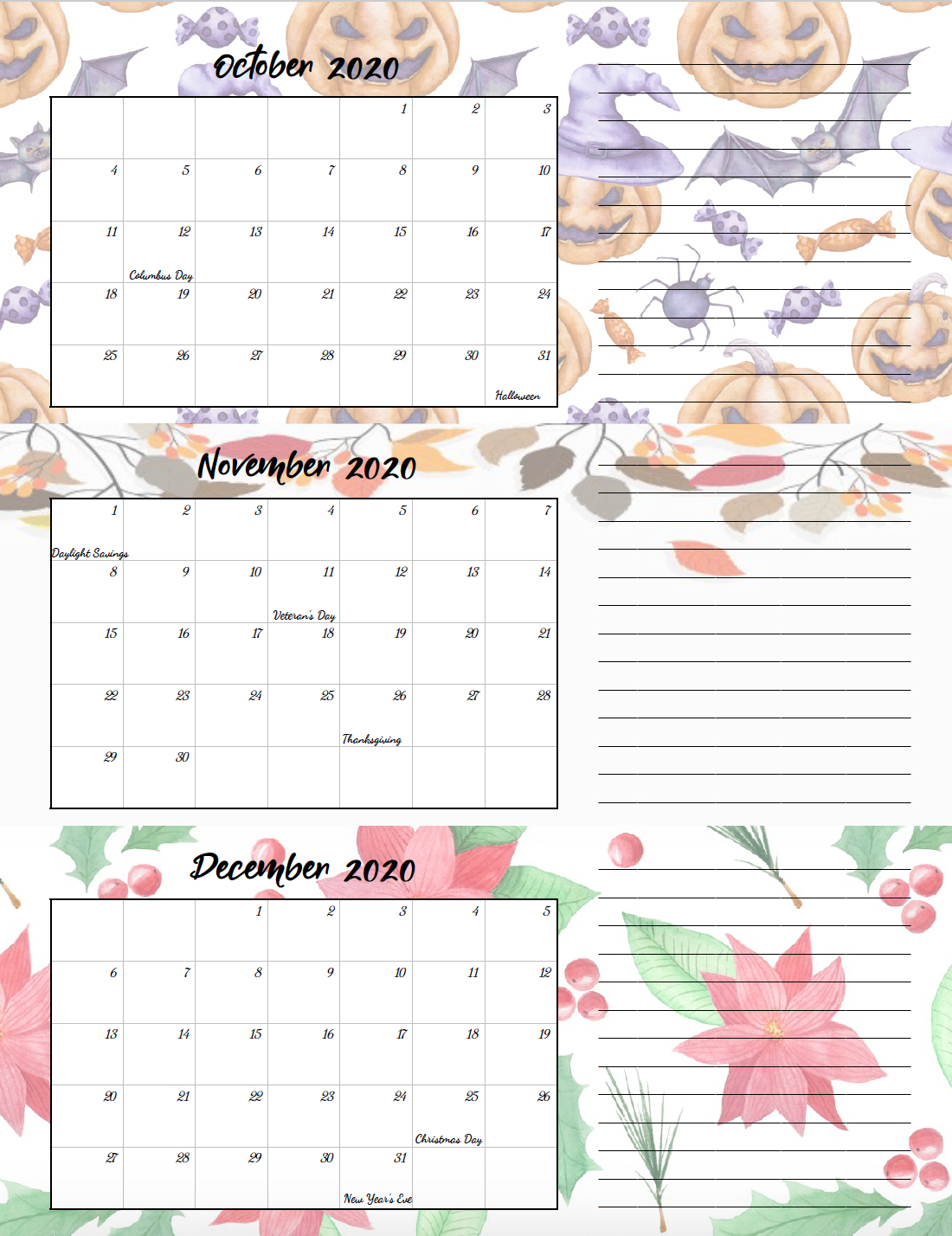 Free Printable 2020 Quarterly Calendars With Holidays: 3