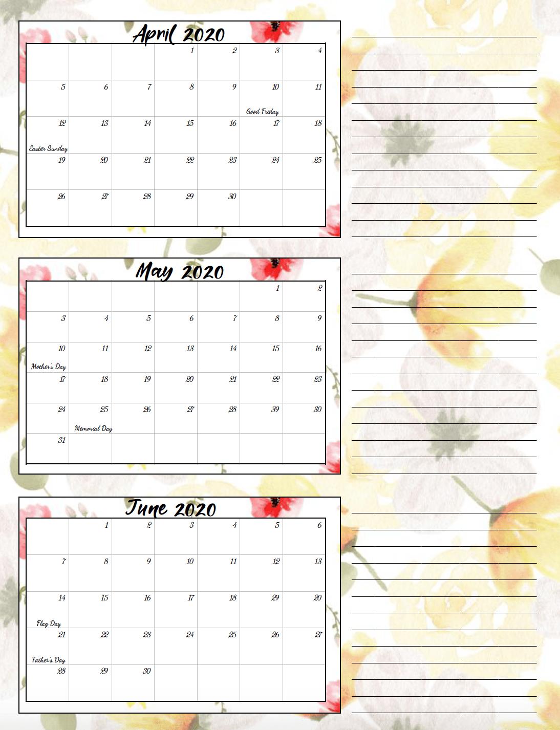 Free Printable 2020 Quarterly Calendars With Holidays: 3 Designs