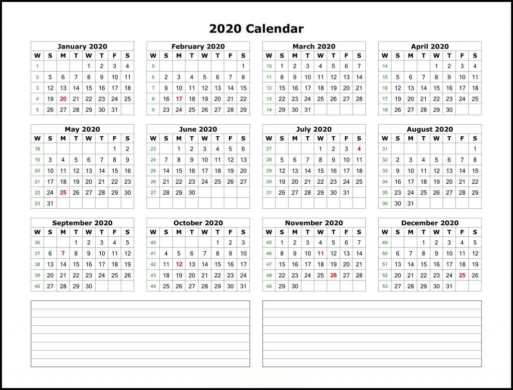 Free Printable 2020 Yearly Calendar Template | Best