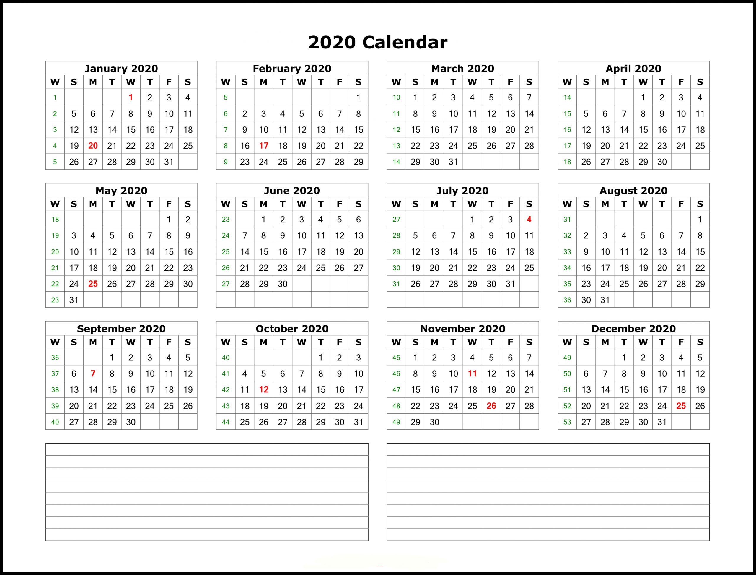 Free Printable 2020 Yearly Calendar Template   Best