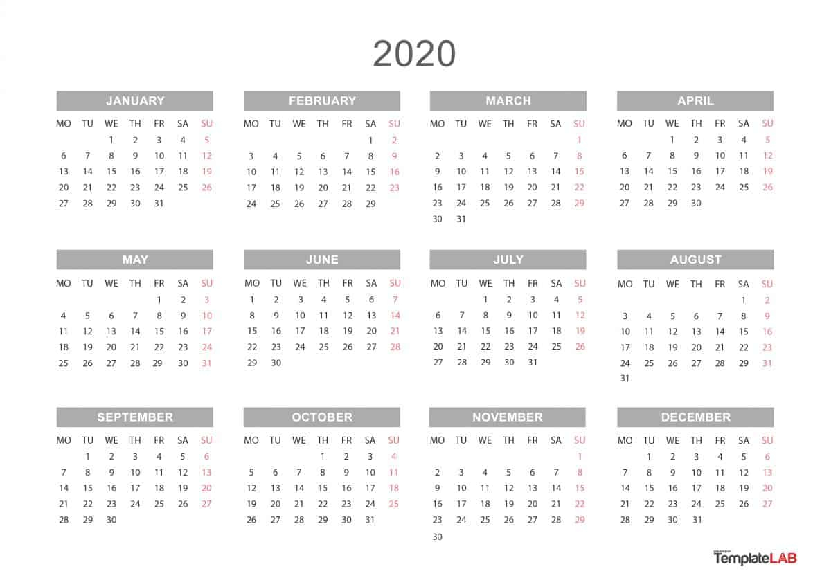 Free Printable 2020 Yearly Calendar - Togo.wpart.co